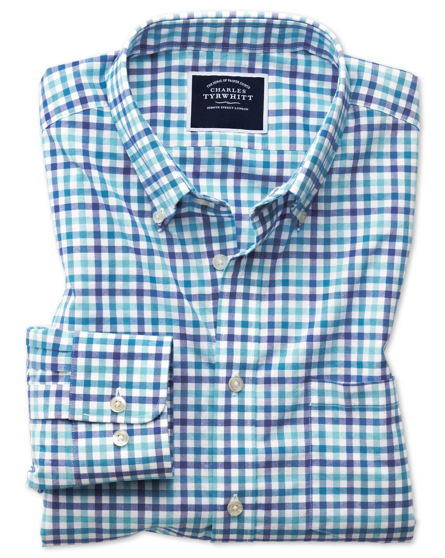 Classic Fit Poplin Blue Multi Gingham Cotton Shirt Single Cuff Size Small by Charles Tyrwhitt