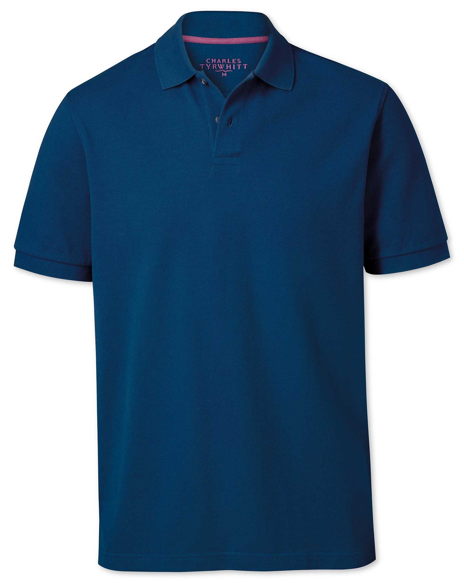 Classic Fit Blue Pique Cotton Polo Size Small by Charles Tyrwhitt