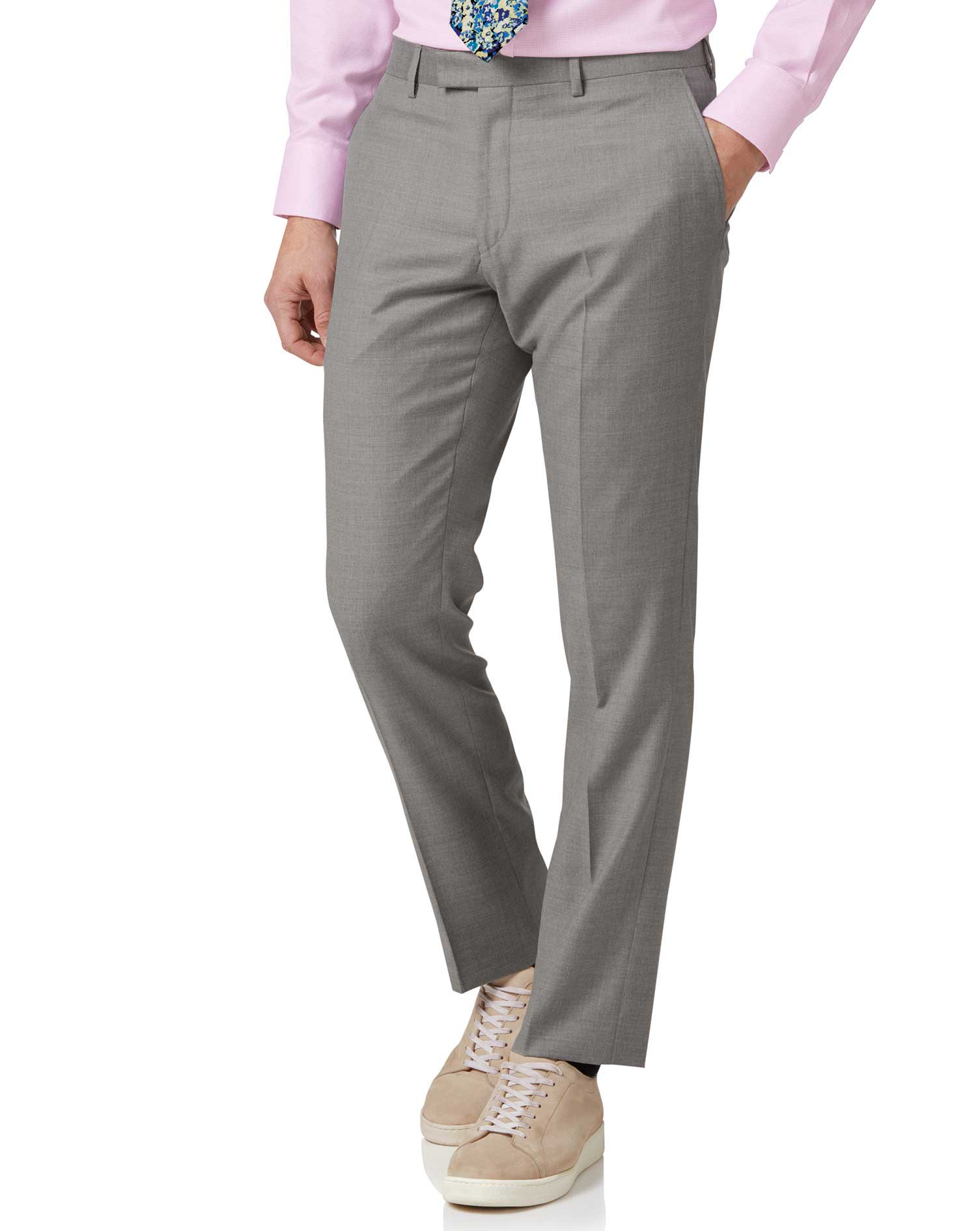 Silver Slim Fit Italian Suit Trouser Size W34 L38 by Charles Tyrwhitt