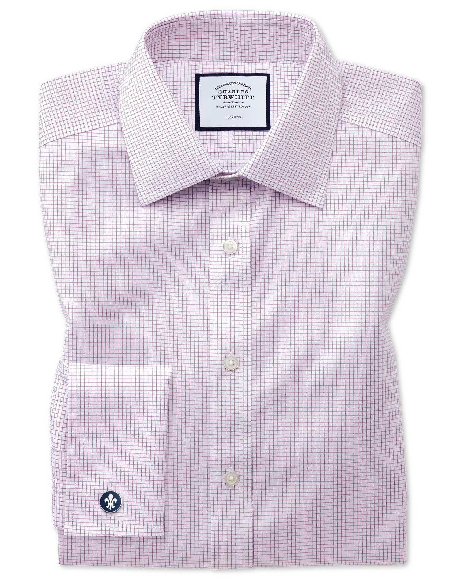 Slim Fit Non-Iron Twill Mini Grid Check Purple Cotton Formal Shirt Double Cuff Size 15/34 by Charles