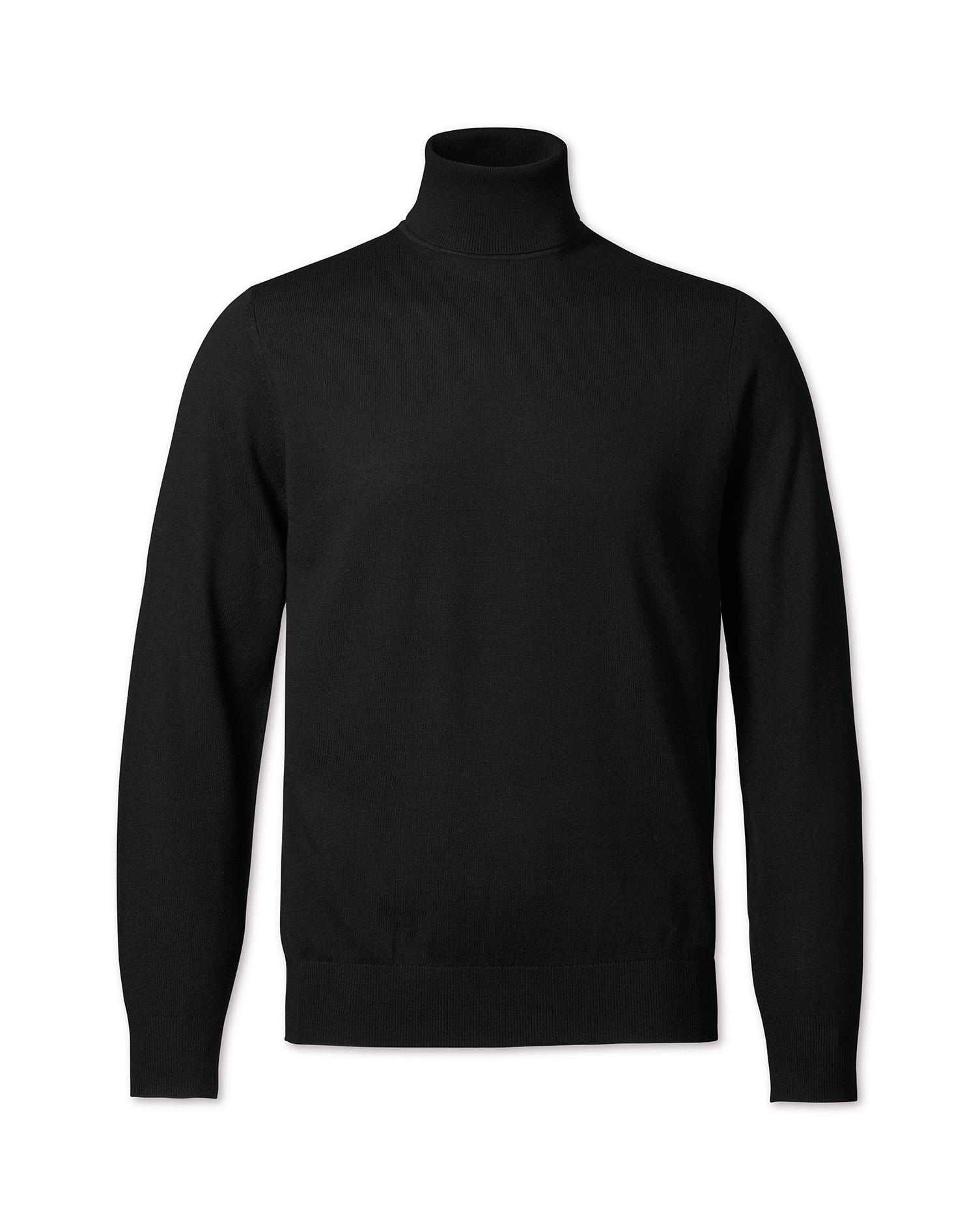 03e43c2cf52 Black merino wool roll neck jumper
