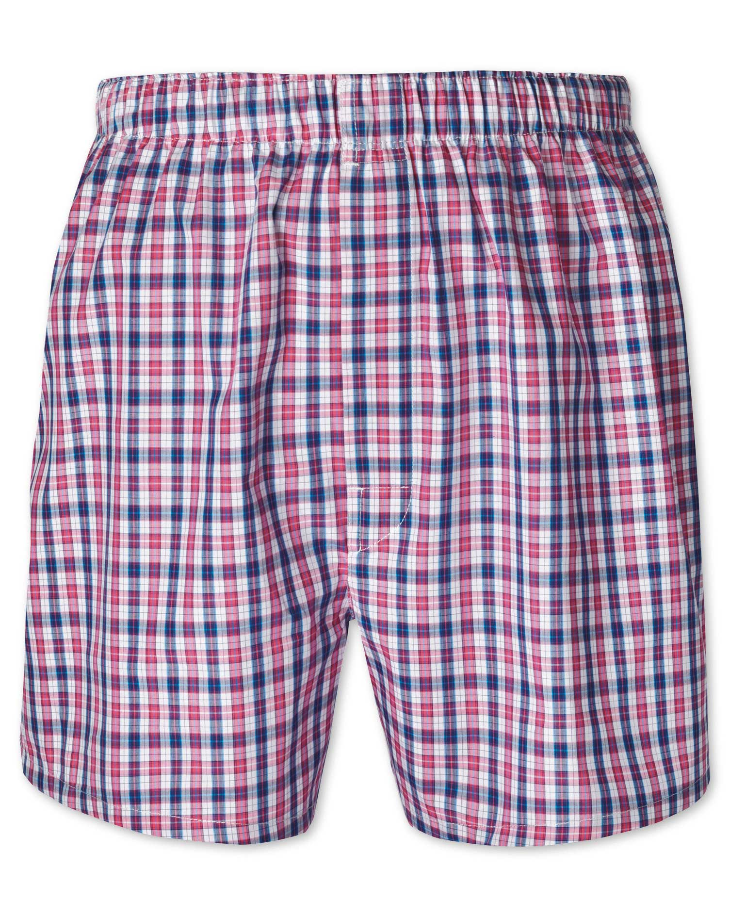 Pink Check Woven Boxers Size XXL by Charles Tyrwhitt
