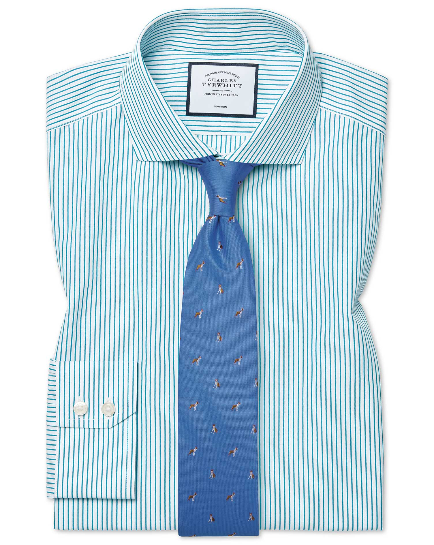 Extra Slim Fit Cutaway Non-Iron Stripe Green Cotton Formal Shirt Double Cuff Size 15.5/33 by Charles