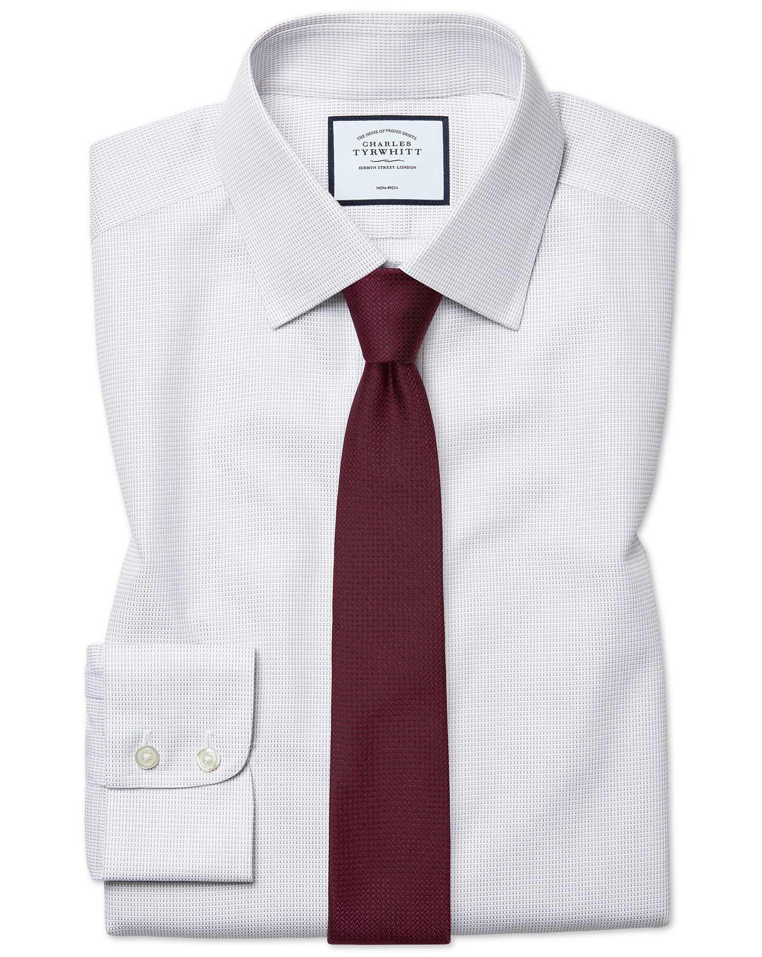 Cotton Extra Slim Fit Non-Iron Dash Weave Grey Shirt