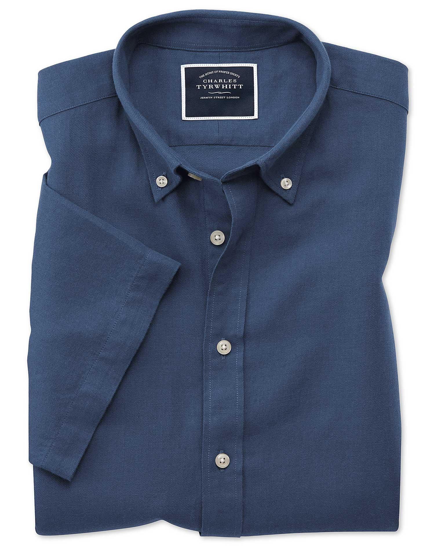 Classic Fit Dark Blue Cotton Linen Twill Short Sleeve Shirt Single Cuff Size XL by Charles Tyrwhitt