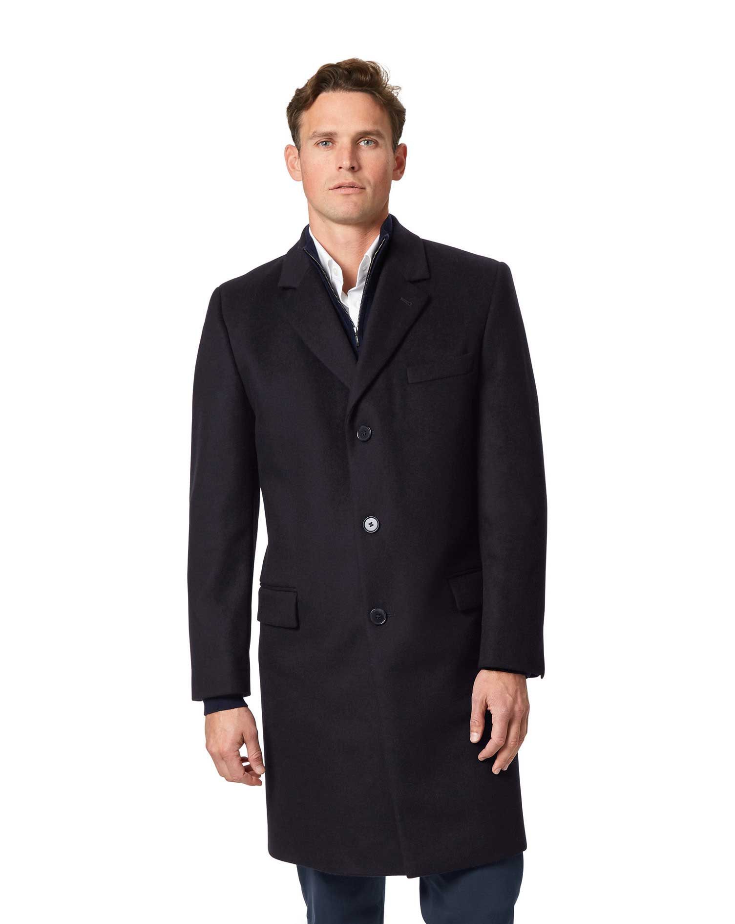 Navy Italian Wool and Cashmere Overcoat Size 48 Regular by Charles Tyrwhitt