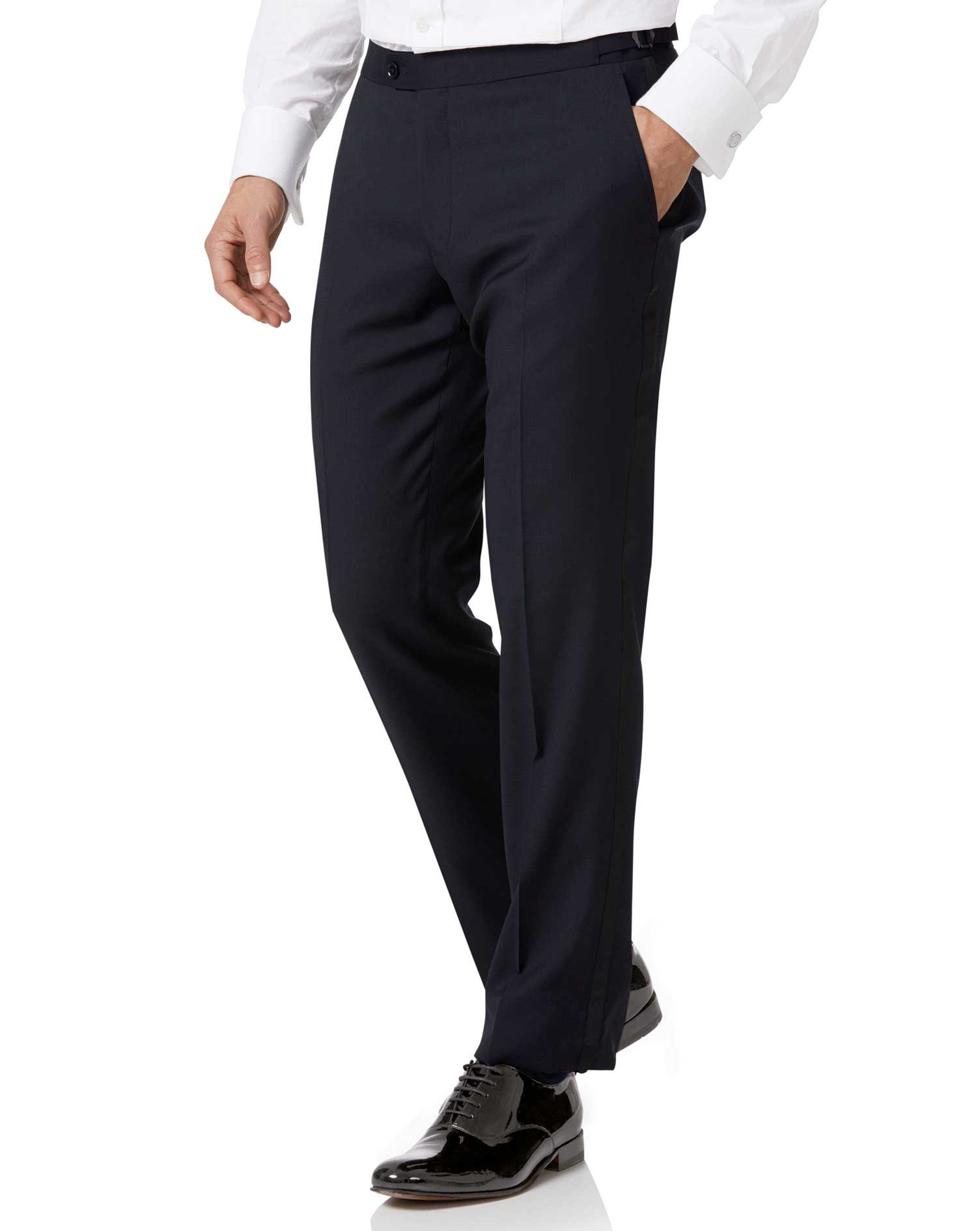 1920s Tuxedo, Hats, Shoes, Shirts and Formal Wear Midnight Blue Slim Fit Tuxedo Trousers Size W38 L32 by Charles Tyrwhitt £100.00 AT vintagedancer.com