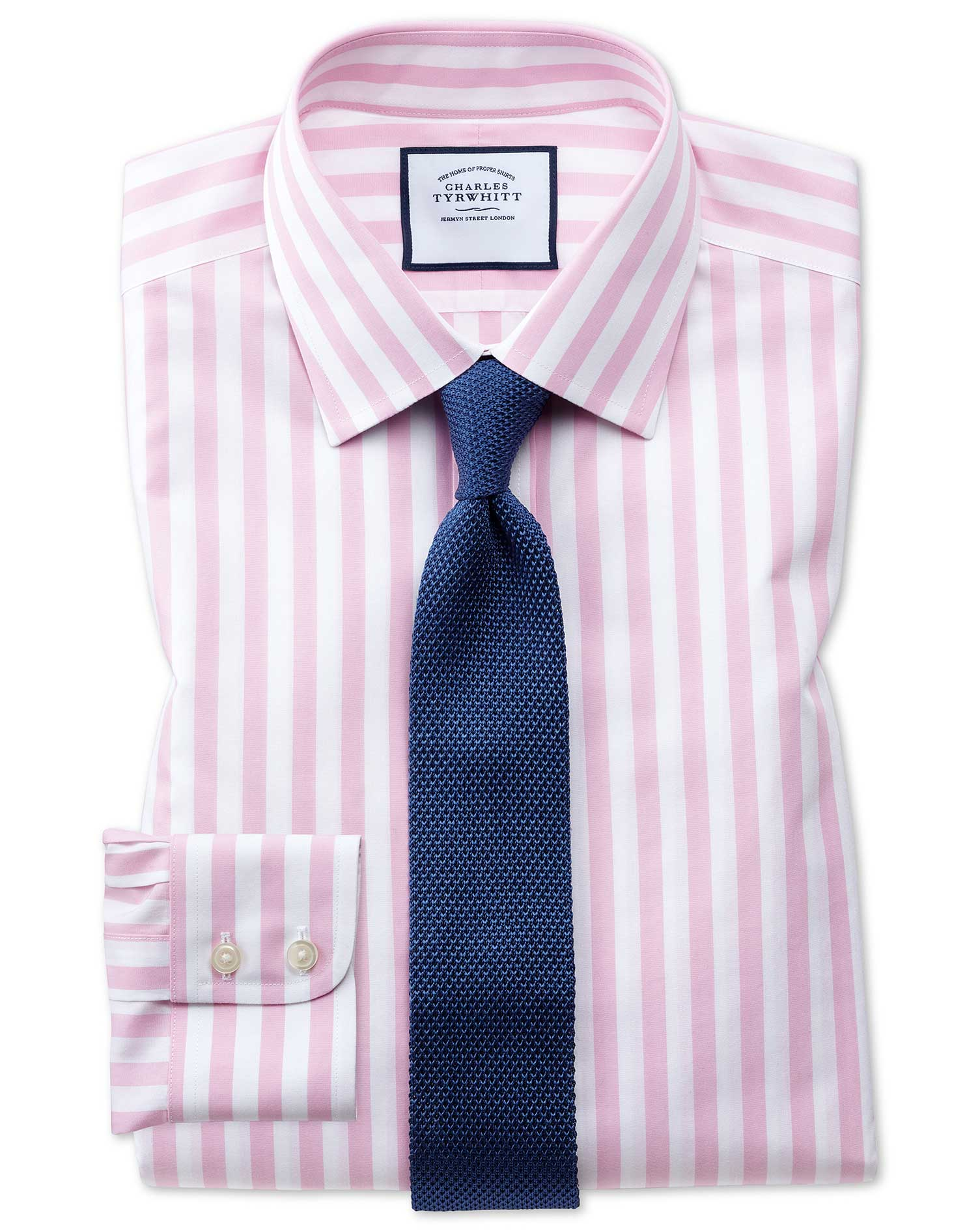 Classic Fit Non-Iron Pink Wide Bengal Stripe Cotton Formal Shirt Single Cuff Size 16.5/34 by Charles