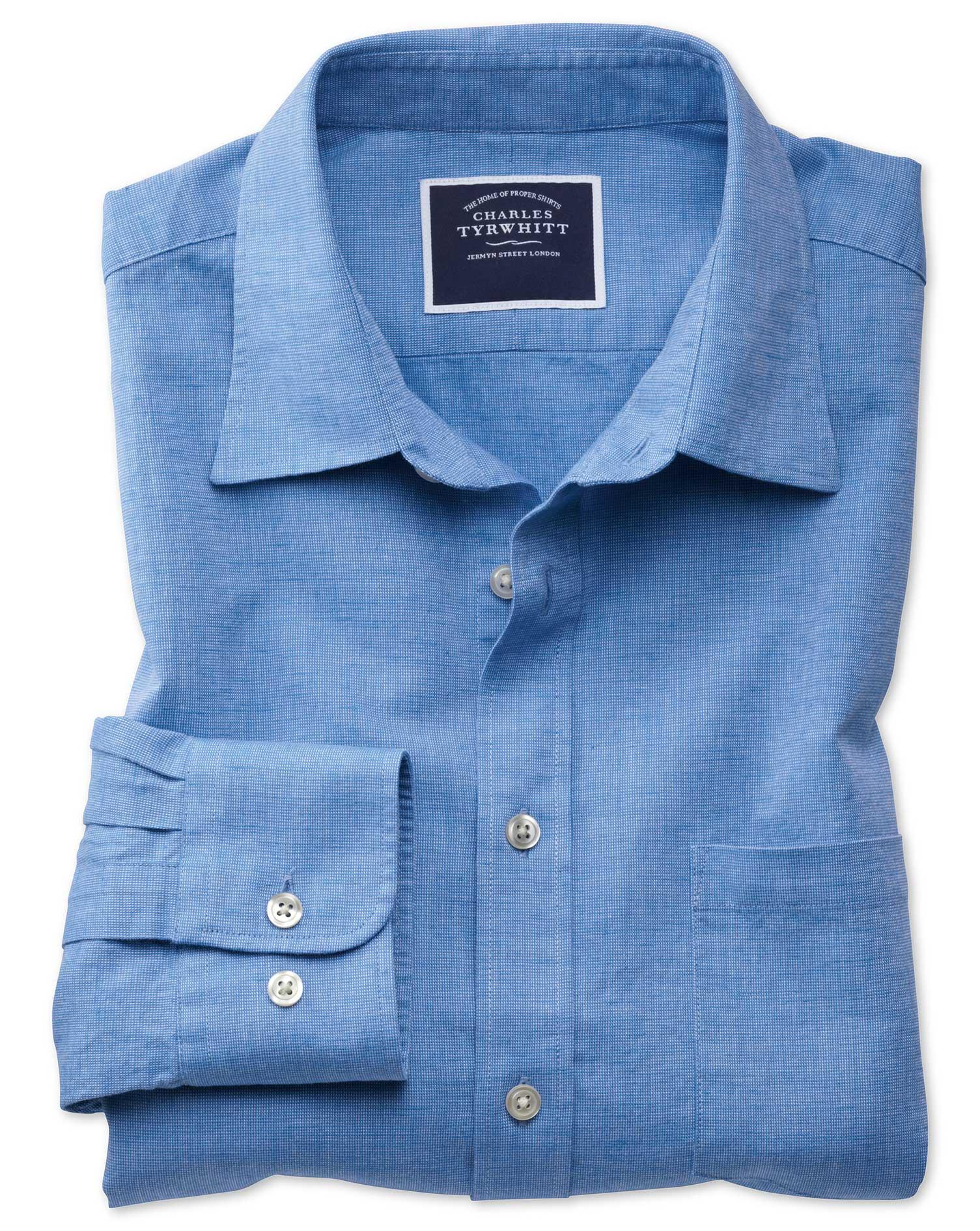 Slim Fit Cotton Linen Bright Blue Plain Shirt Single Cuff Size Medium by Charles Tyrwhitt