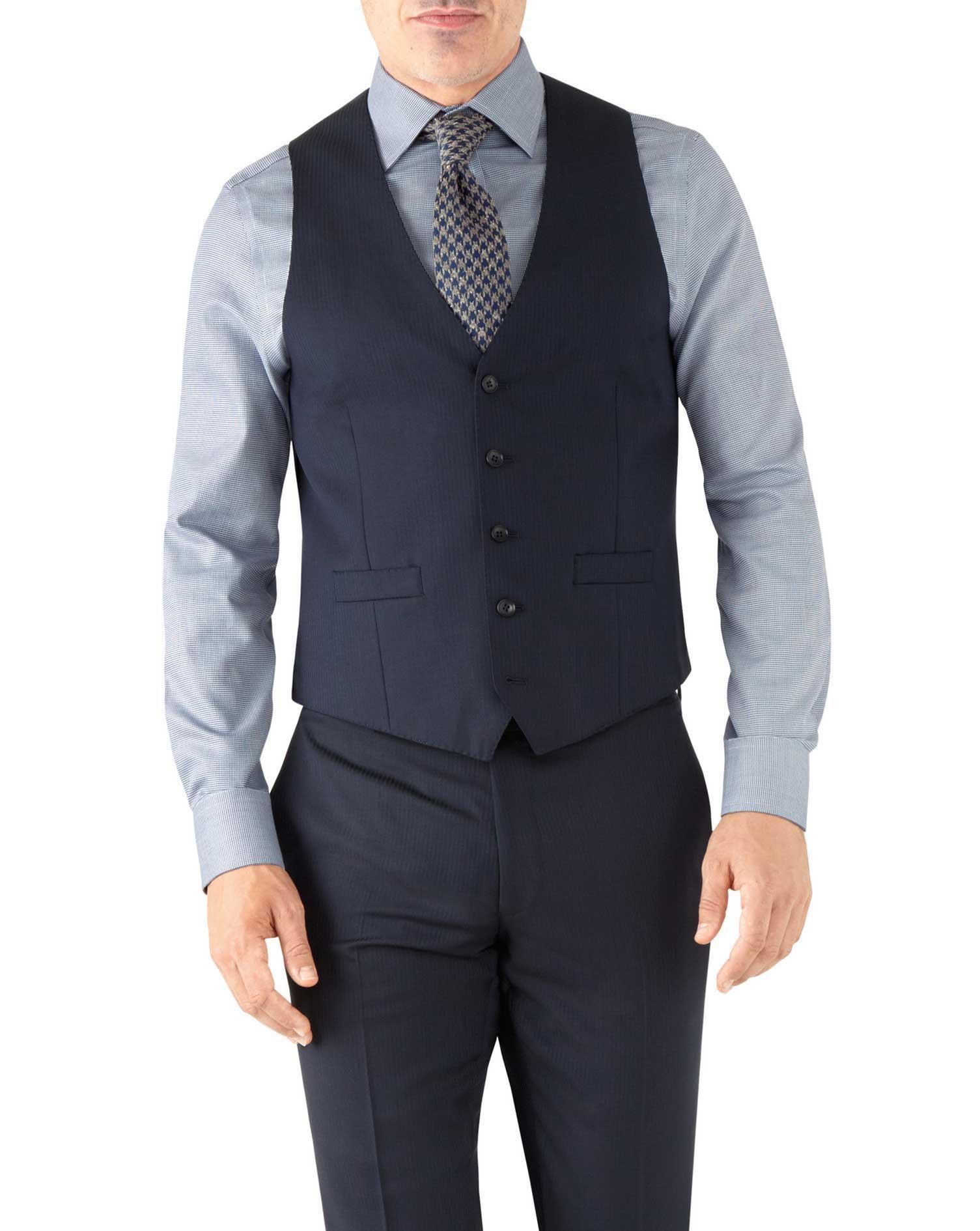 Navy Herringbone Adjustable Fit Italian Suit Wool Waistcoat Size w46 by Charles Tyrwhitt