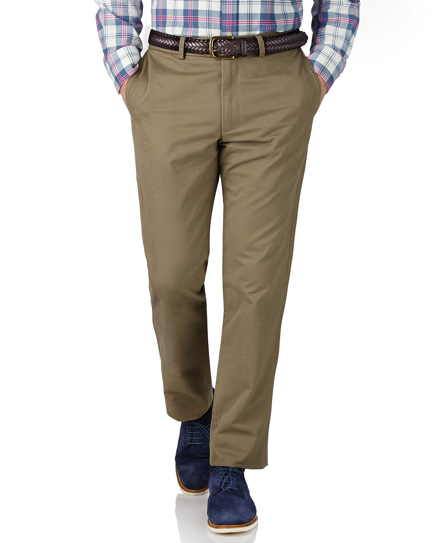 Beige Slim Fit Flat Front Cotton Chino Trousers Size W38 L34 by Charles Tyrwhitt