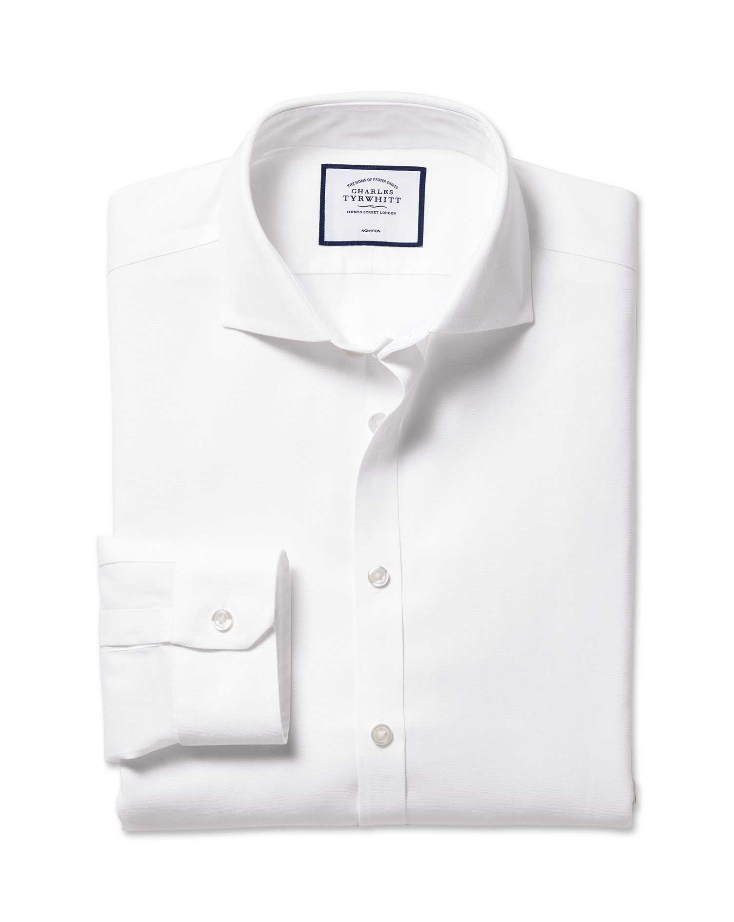 Super Slim Fit Non-Iron Cutaway White Oxford Stretch Cotton Formal Shirt Single Cuff Size 15/33 by C