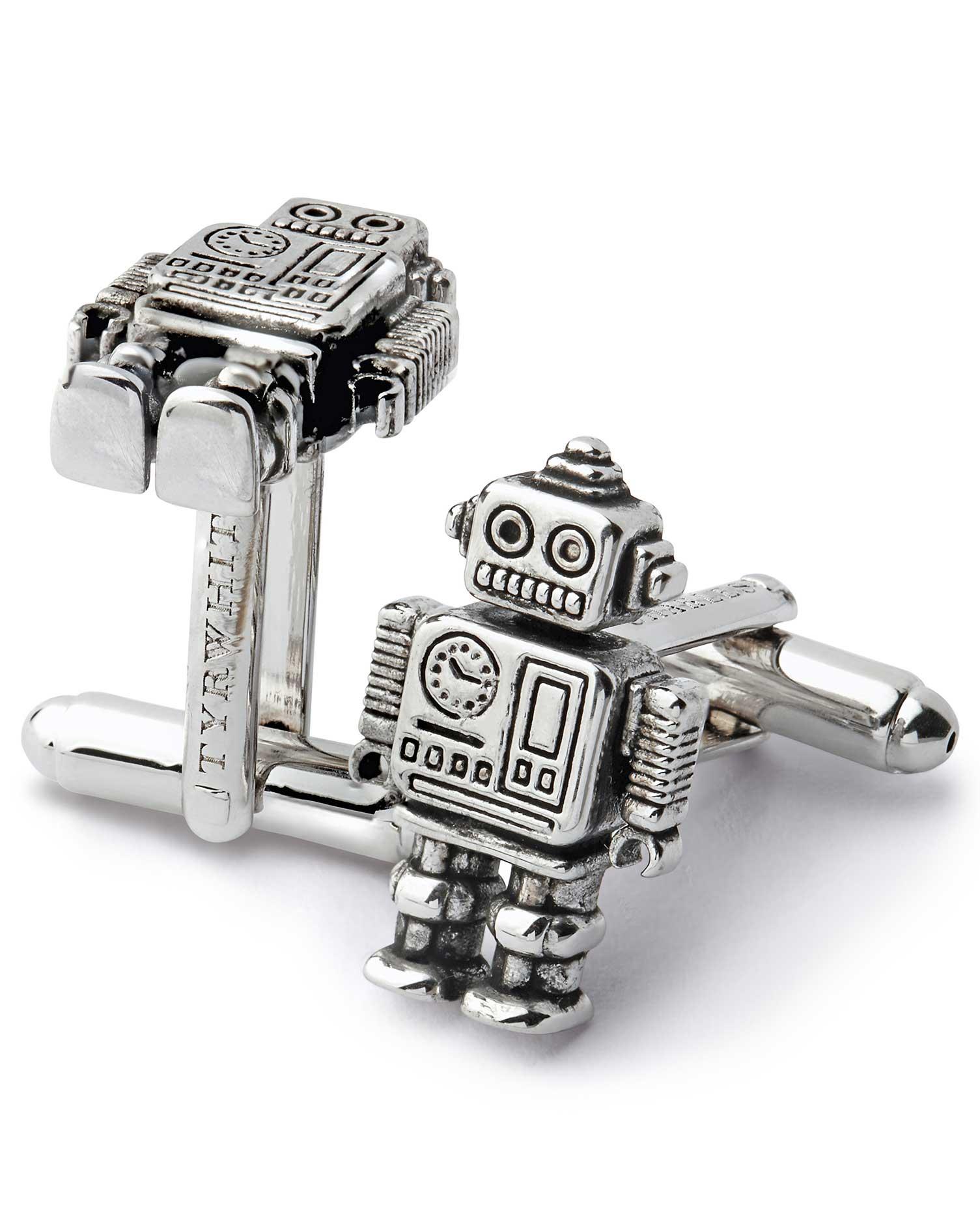 Antique Finish Silver Mini Robot Cufflinks by Charles Tyrwhitt