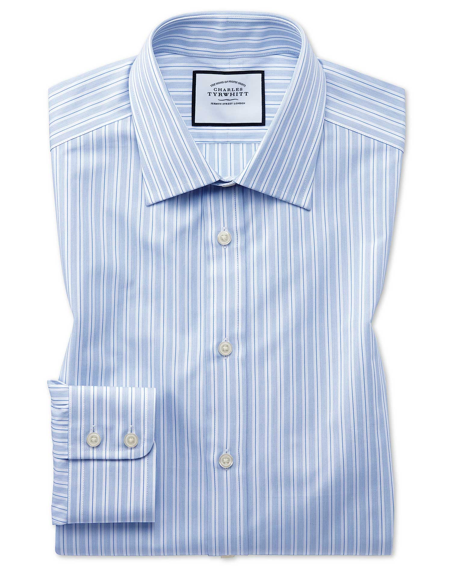 Classic Fit Egyptian Cotton Poplin Sky Blue Stripe Formal Shirt Single Cuff Size 17/37 by Charles Ty