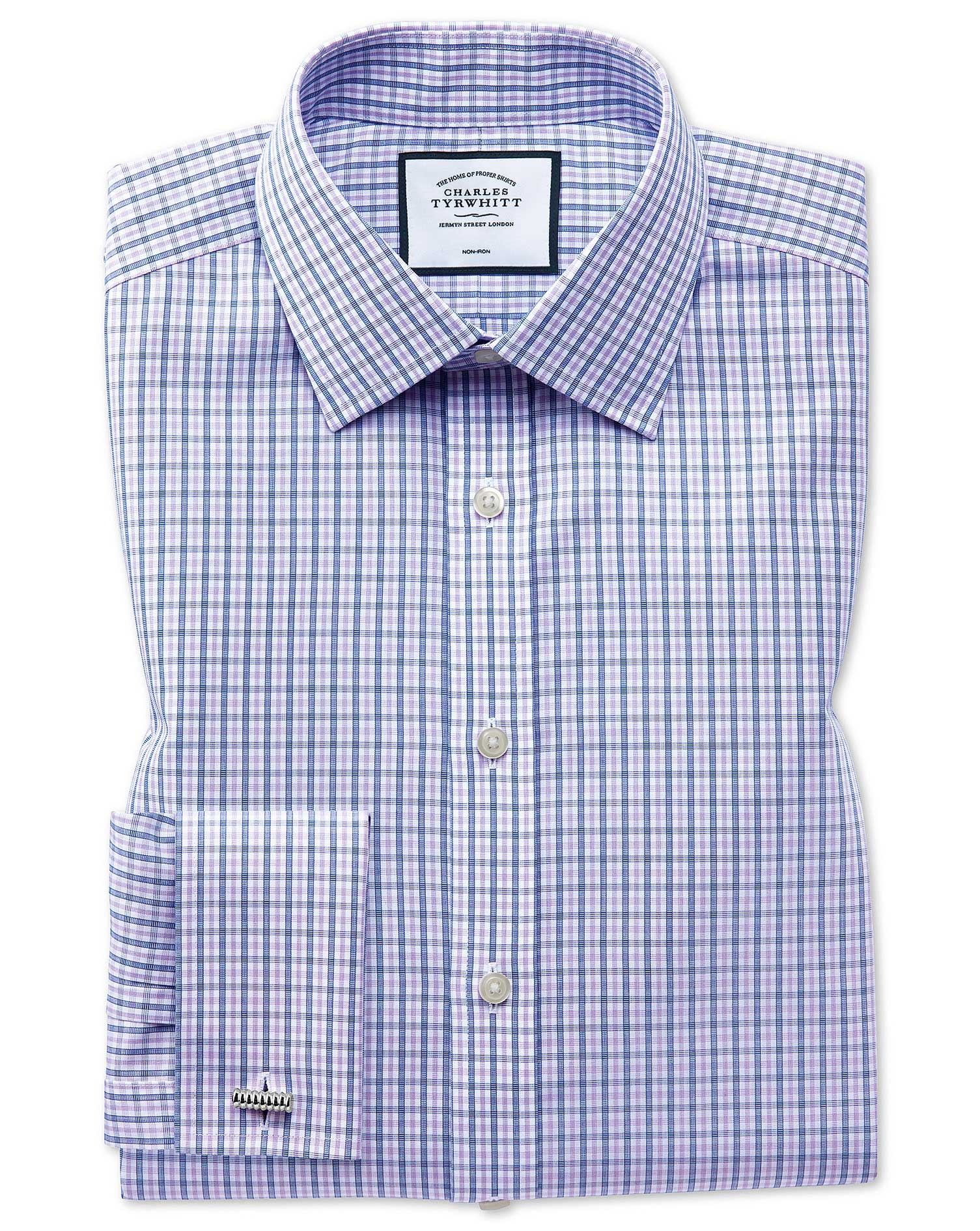 Classic Fit Non-Iron Blue and Purple Check Cotton Formal Shirt Double Cuff Size 18/36 by Charles Tyr