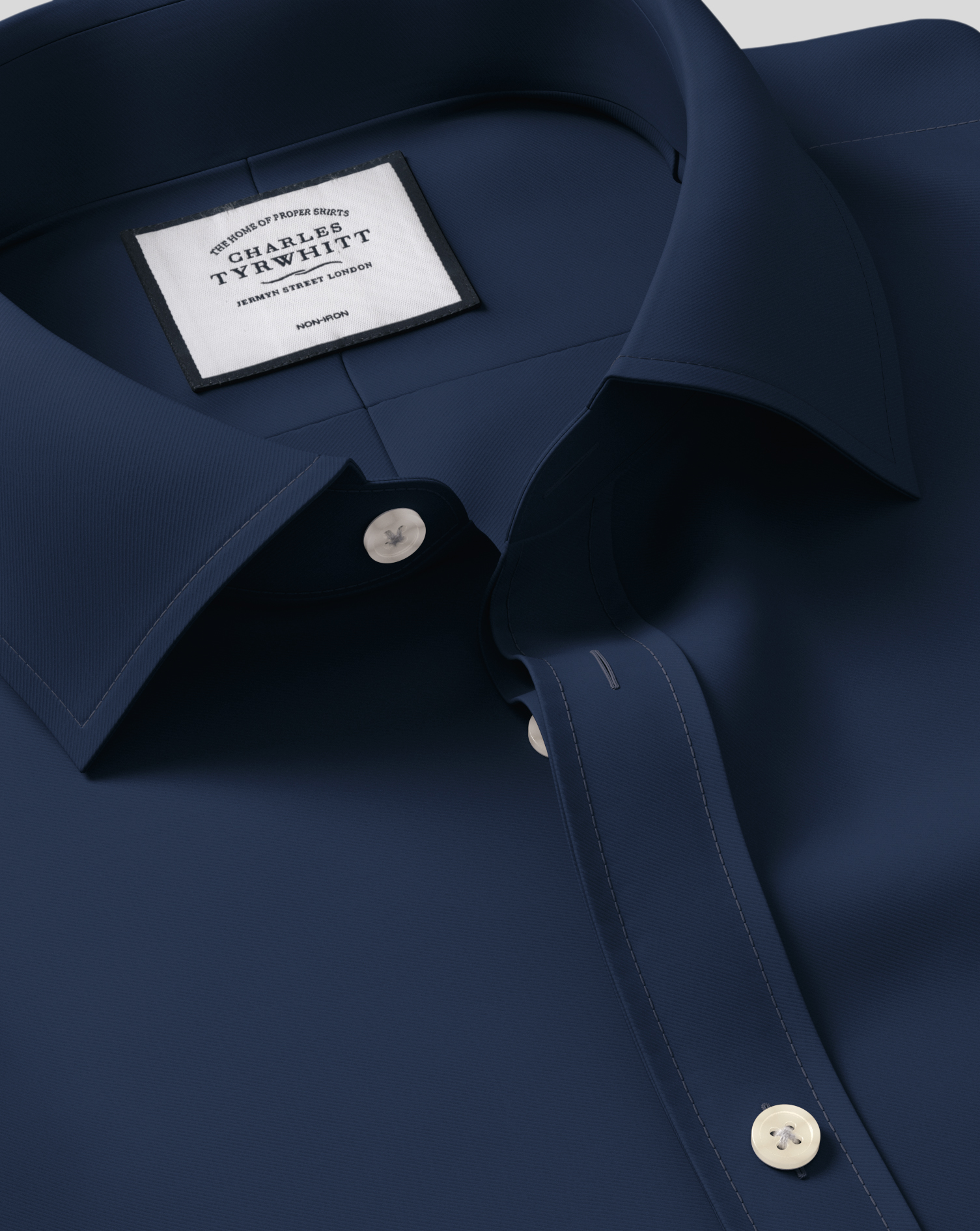 Classic Fit Navy Non-Iron Twill Cotton Formal Shirt Double Cuff Size 17/37 by Charles Tyrwhitt