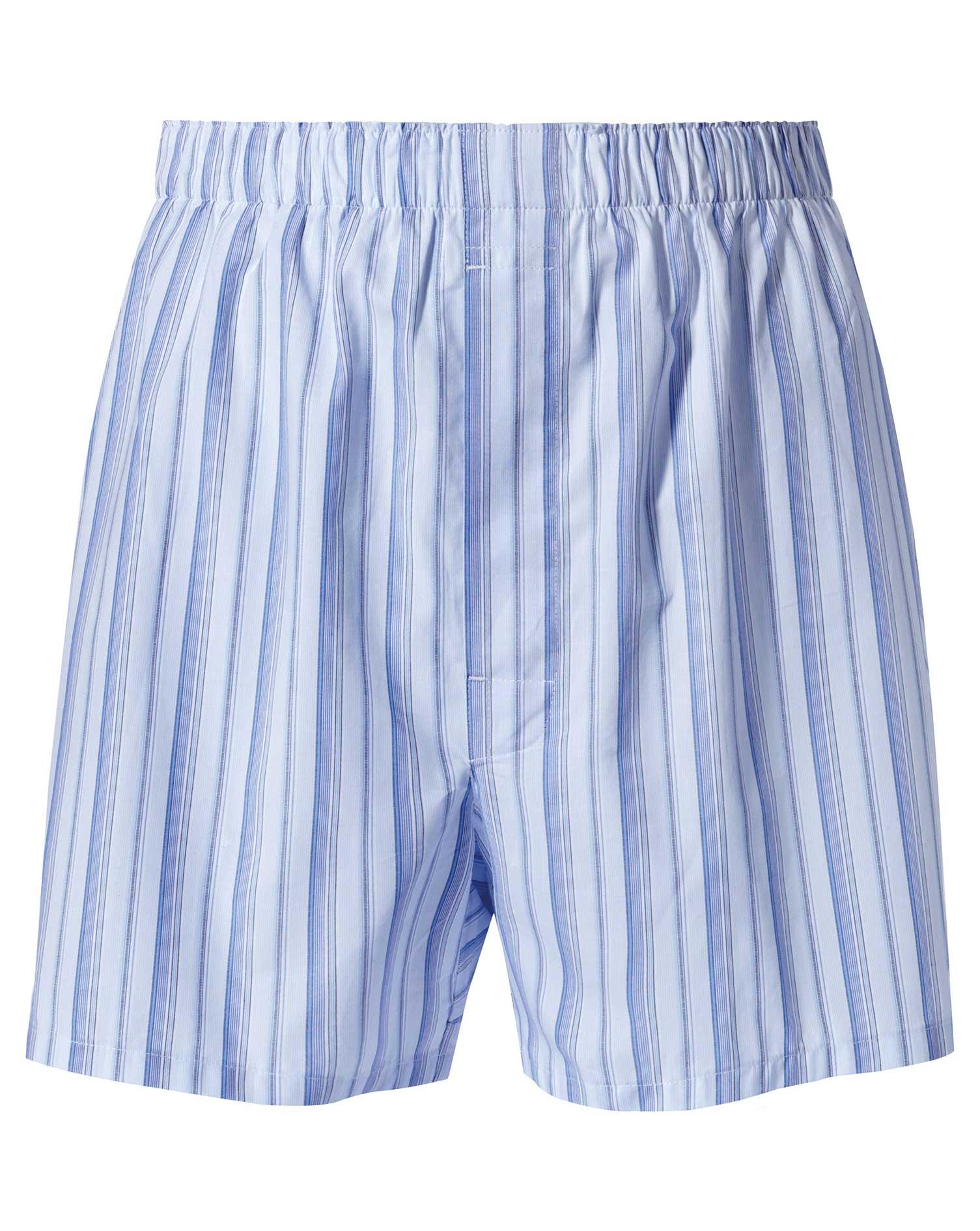 Sky Blue Stripe Woven Boxers Size XL by Charles Tyrwhitt