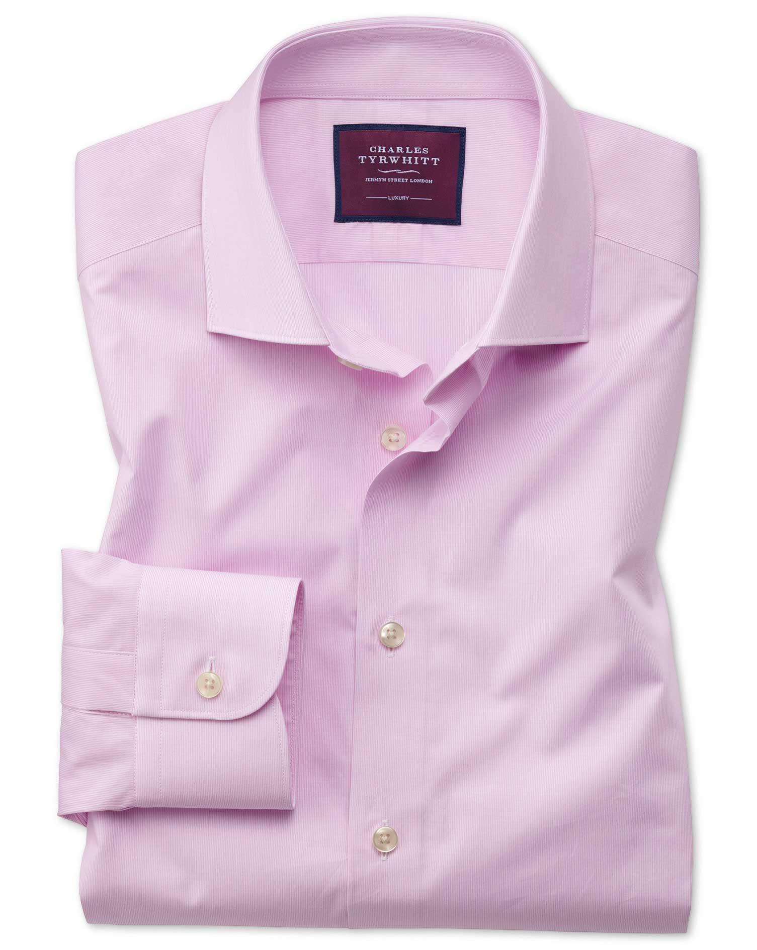 Slim Fit Pink Fine Stripe Luxury Cotton Formal Shirt Single Cuff Size 16/35 by Charles Tyrwhitt