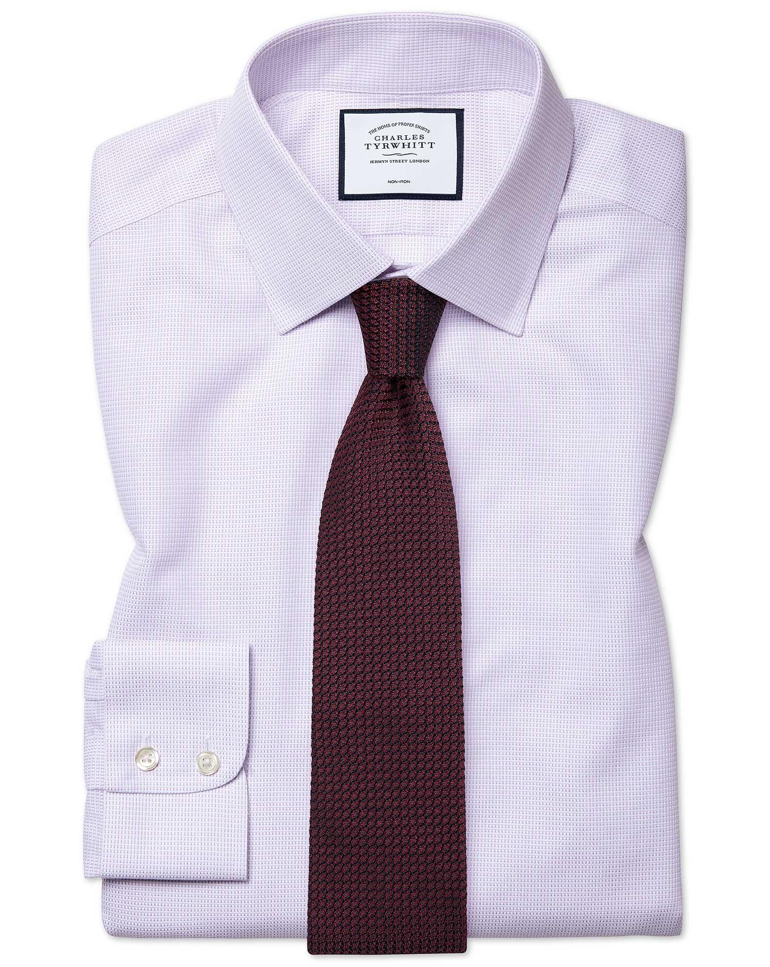Cotton Classic Fit Non-Iron Dash Weave Lilac Shirt