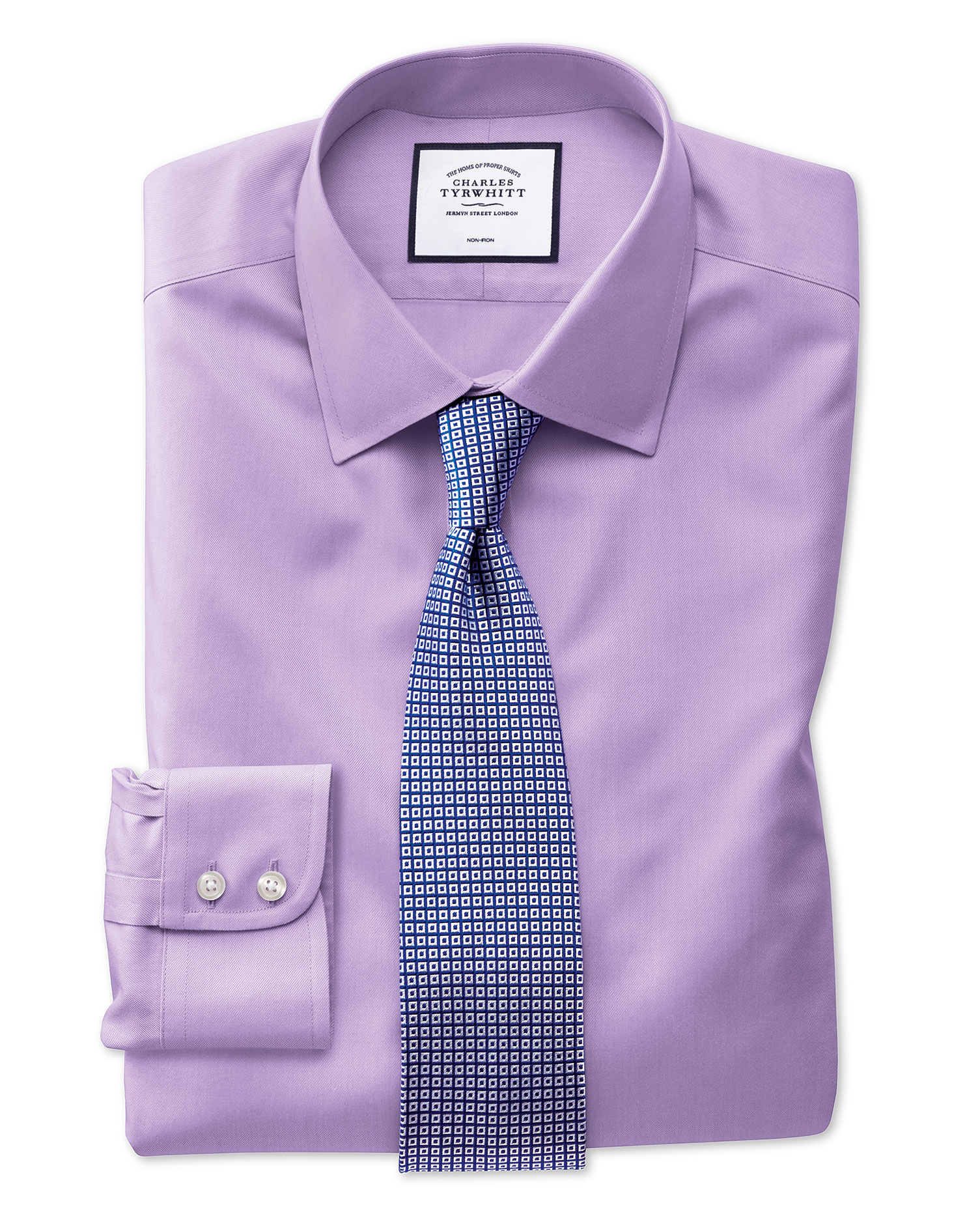 Classic Fit Non-Iron Light Lilac Twill Cotton Formal Shirt Single Cuff Size 17.5/36 by Charles Tyrwh