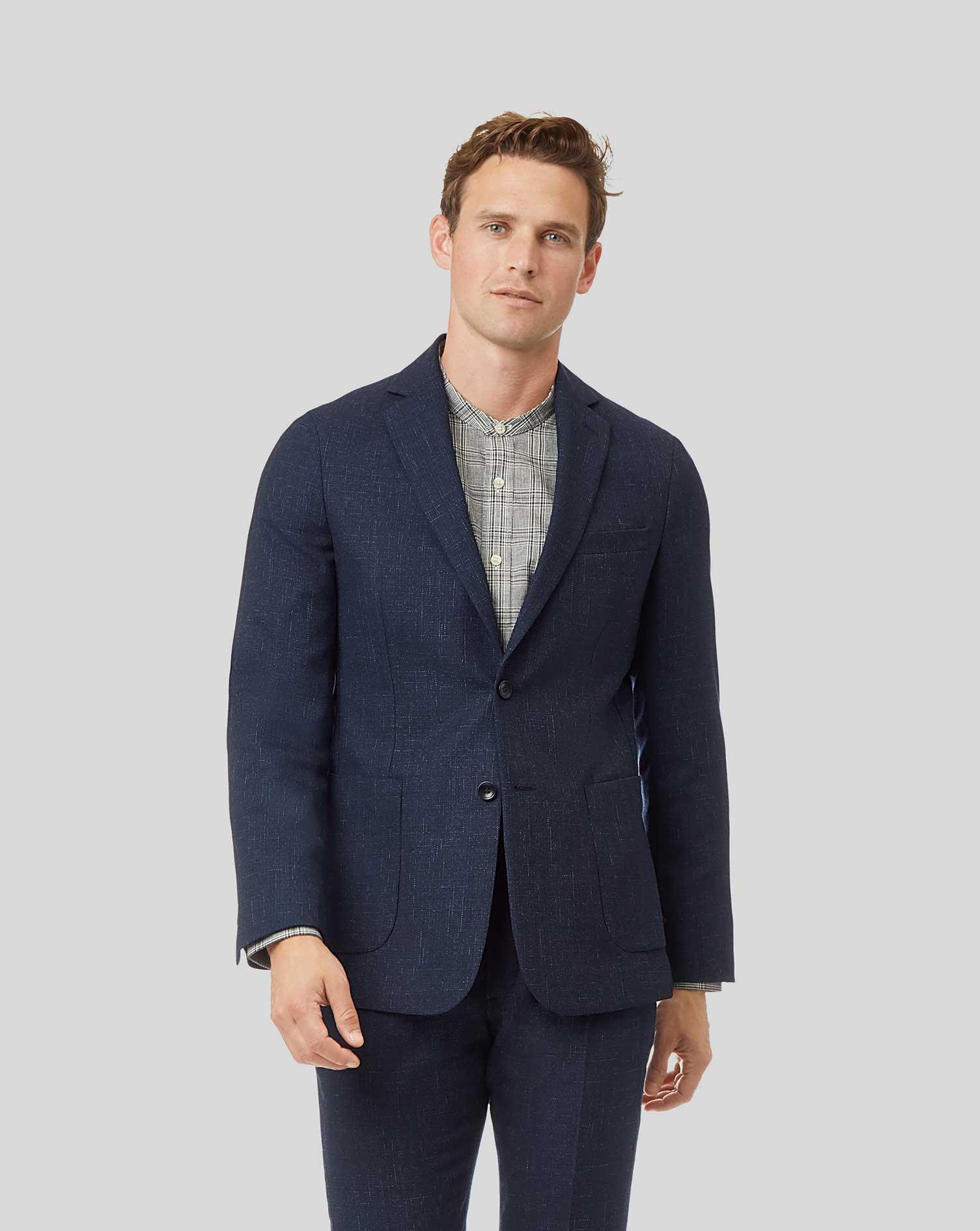 Cotton Textured Wool Blend Suit Jacket - Navy