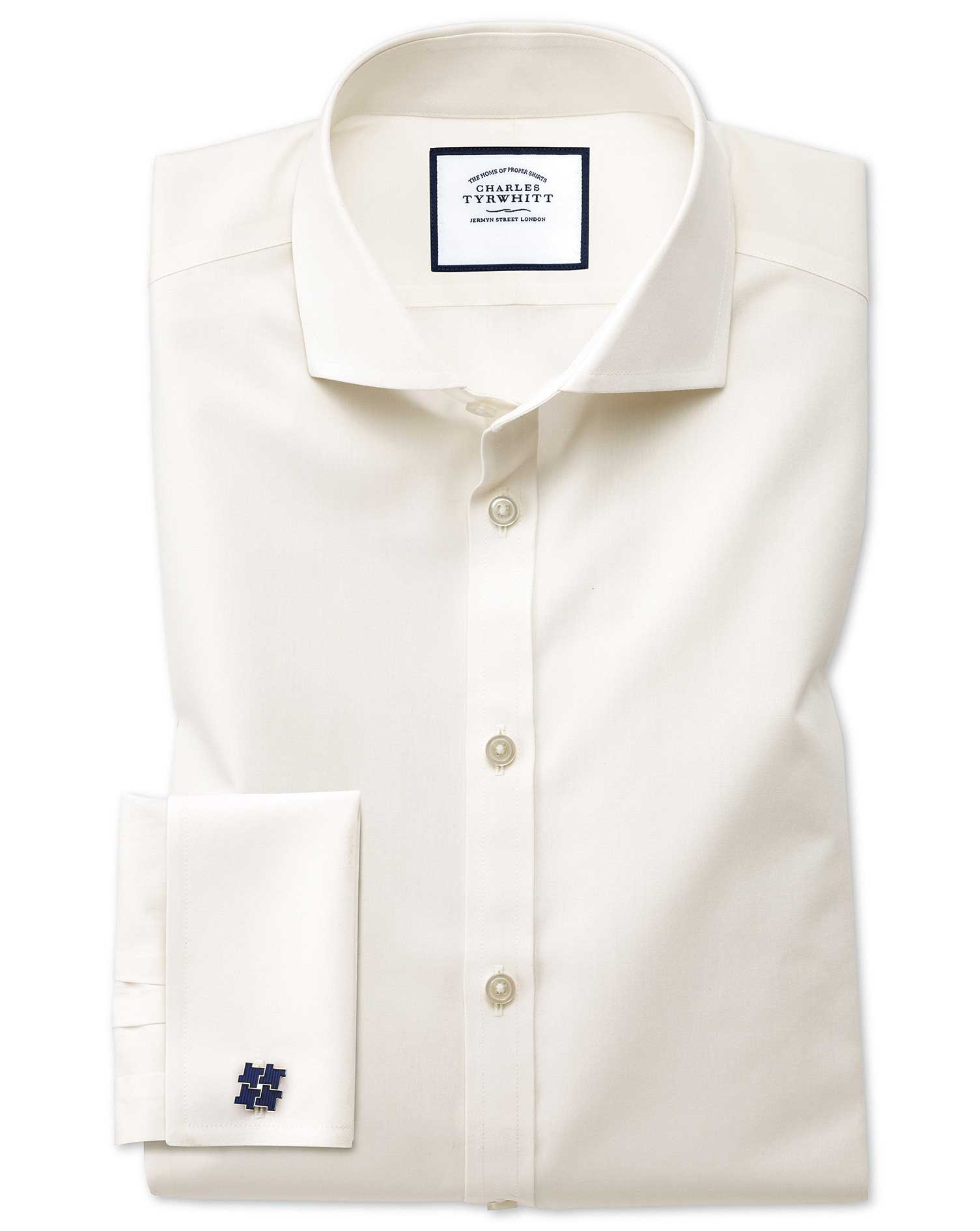 Extra Slim Fit Cutaway Non-Iron Poplin Cream Cotton Formal Shirt Single Cuff Size 14.5/32 by Charles