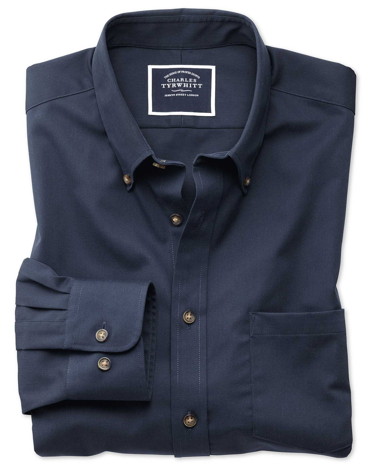 Slim Fit Button-Down Non-Iron Twill Navy Blue Cotton Shirt Single Cuff Size Large by Charles Tyrwhit