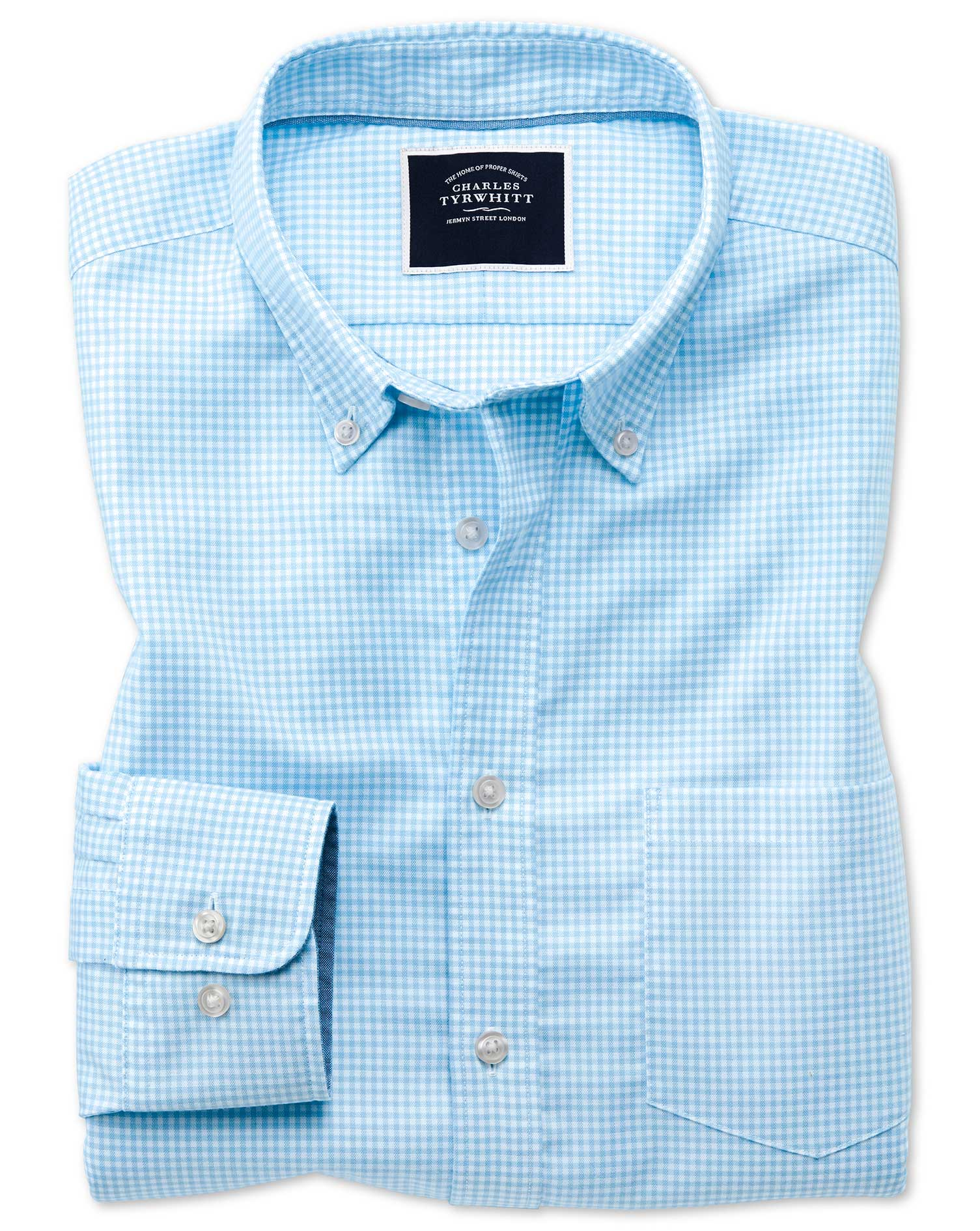 Slim Fit Sky Blue Gingham Soft Washed Non-Iron Stretch Cotton Shirt Single Cuff Size Small by Charle