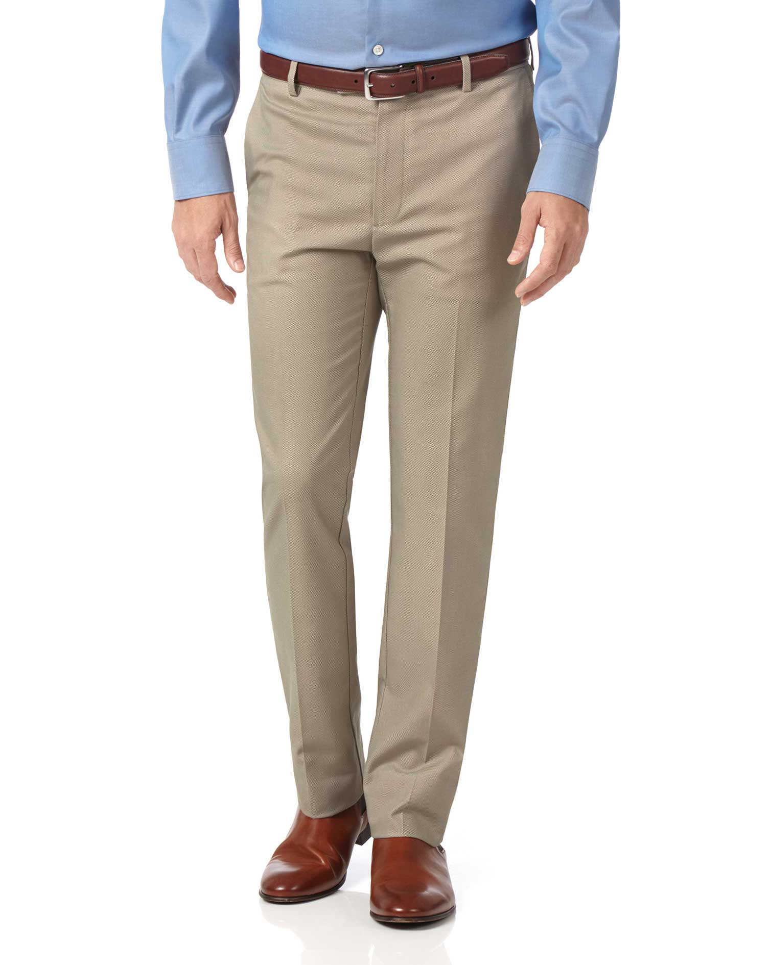 Stone Slim Fit Stretch Non-Iron Trousers Size W36 L30 by Charles Tyrwhitt