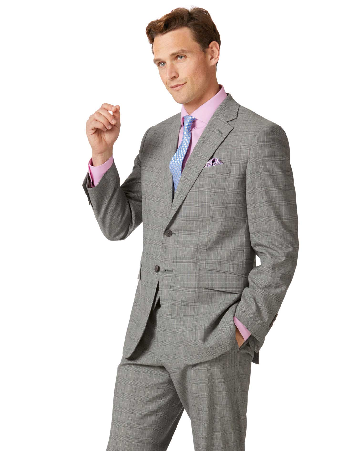 Grey Prince Of Wales Classic Fit Panama Business Suit Wool Jacket Size 44 Short by Charles Tyrwhitt