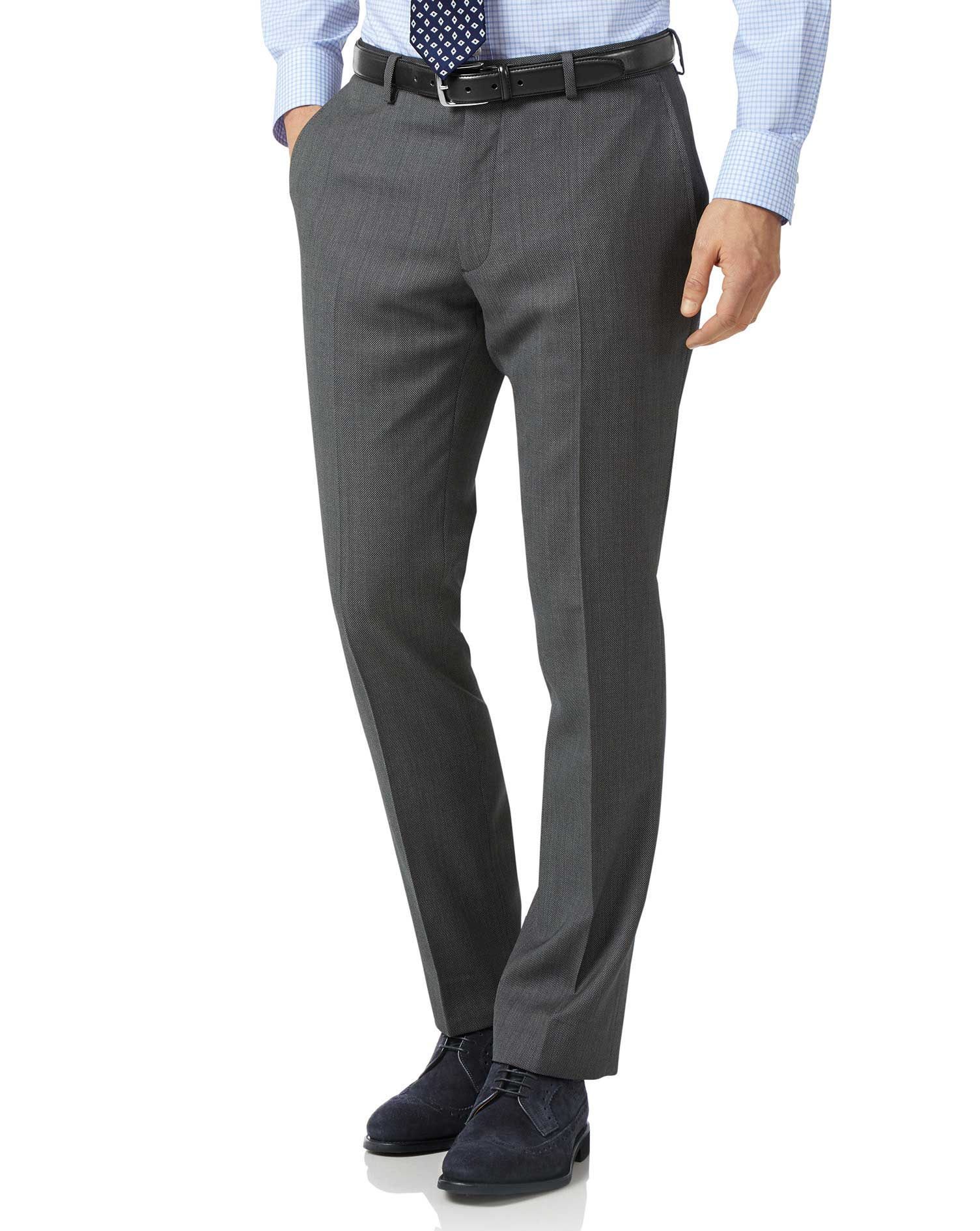 Grey Slim Fit Birdseye Travel Suit Trousers Size W34 L30 by Charles Tyrwhitt
