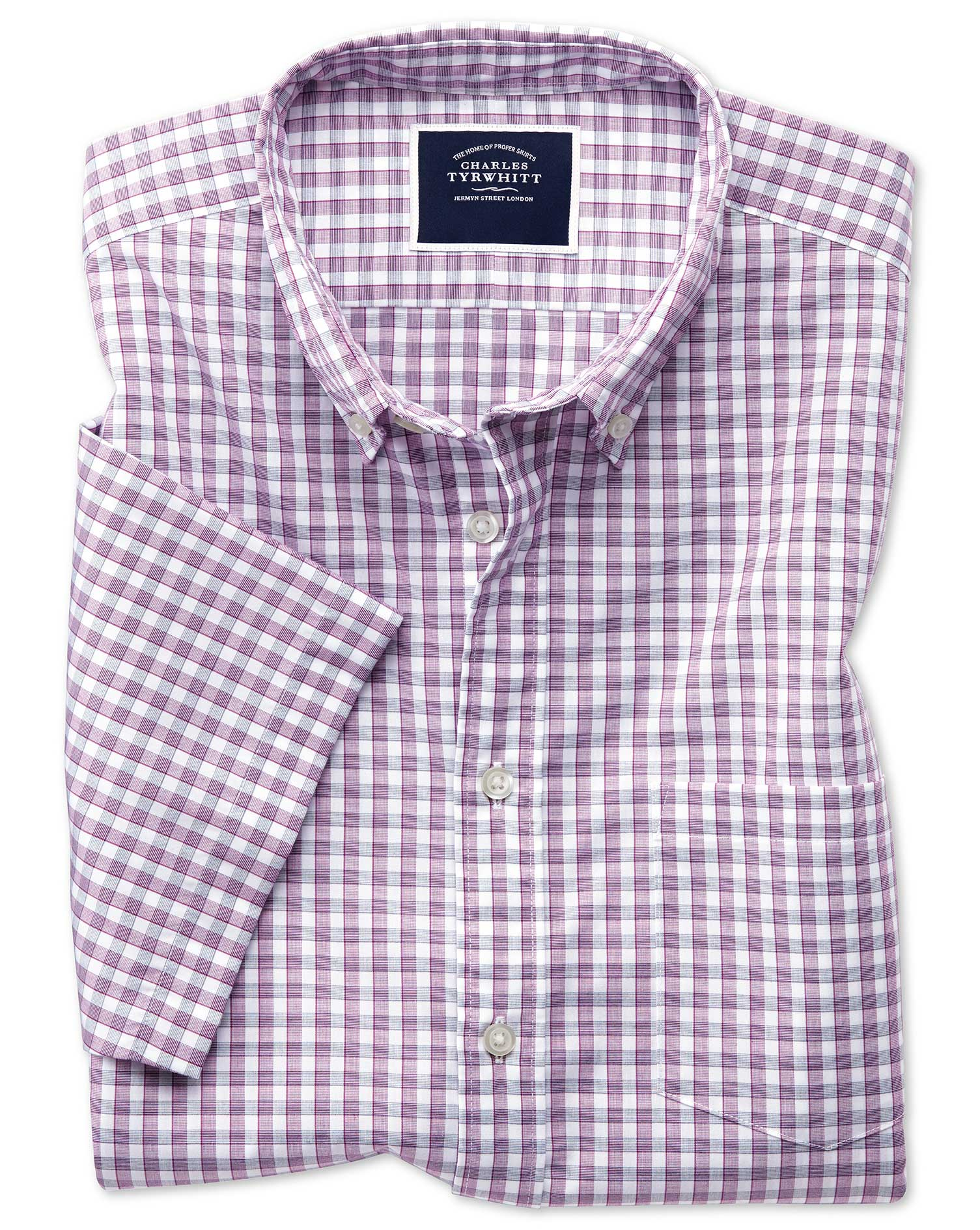 Classic Fit Berry Short Sleeve Gingham Soft Washed Non-Iron Tyrwhitt Cool Cotton Shirt Single Cuff S