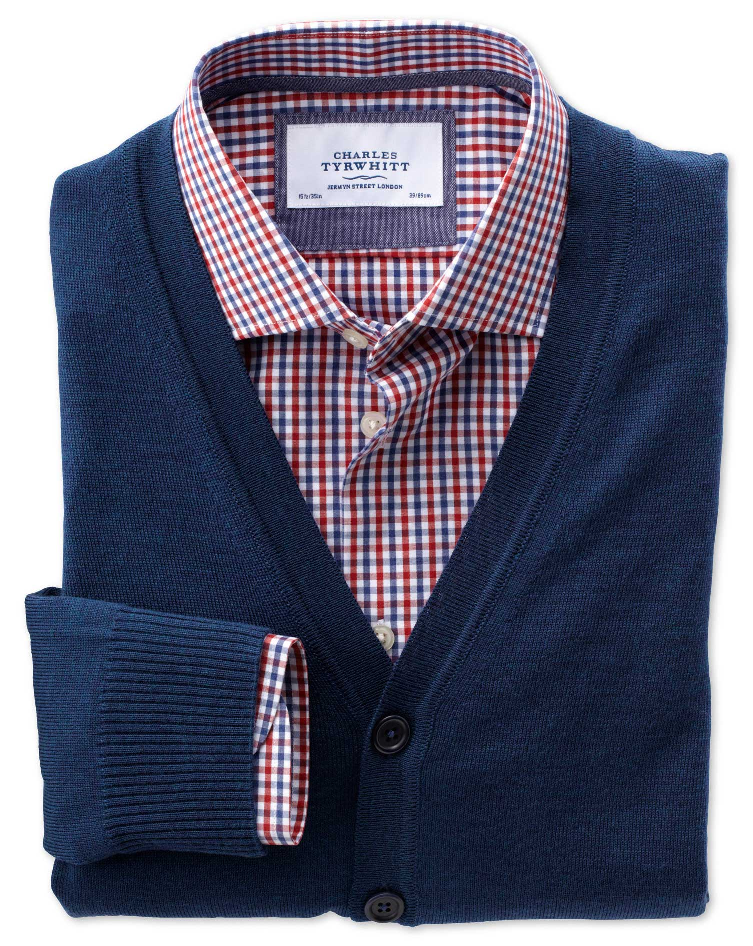 Mid Blue Merino Wool Cardigan Size XXL by Charles Tyrwhitt