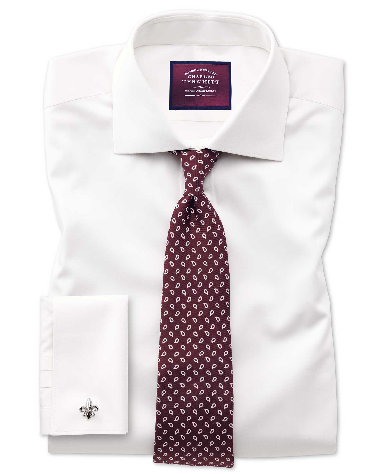 Slim Fit Semi-Cutaway Luxury Cotton Silk Off-White Formal Shirt Single Cuff Size 16.5/33 by Charles