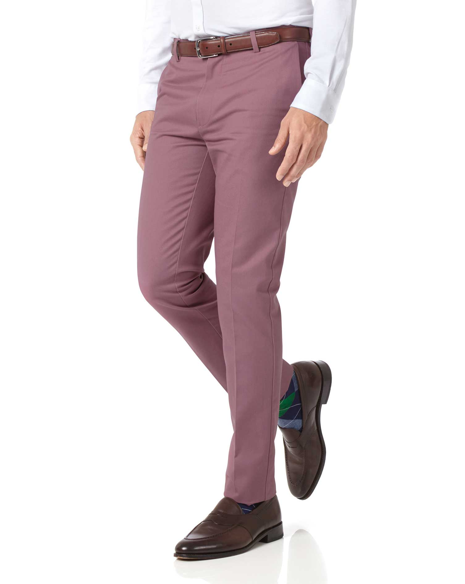 Light Pink Extra Slim Fit Flat Front Non-Iron Cotton Chino Trousers Size W34 L38 by Charles Tyrwhitt