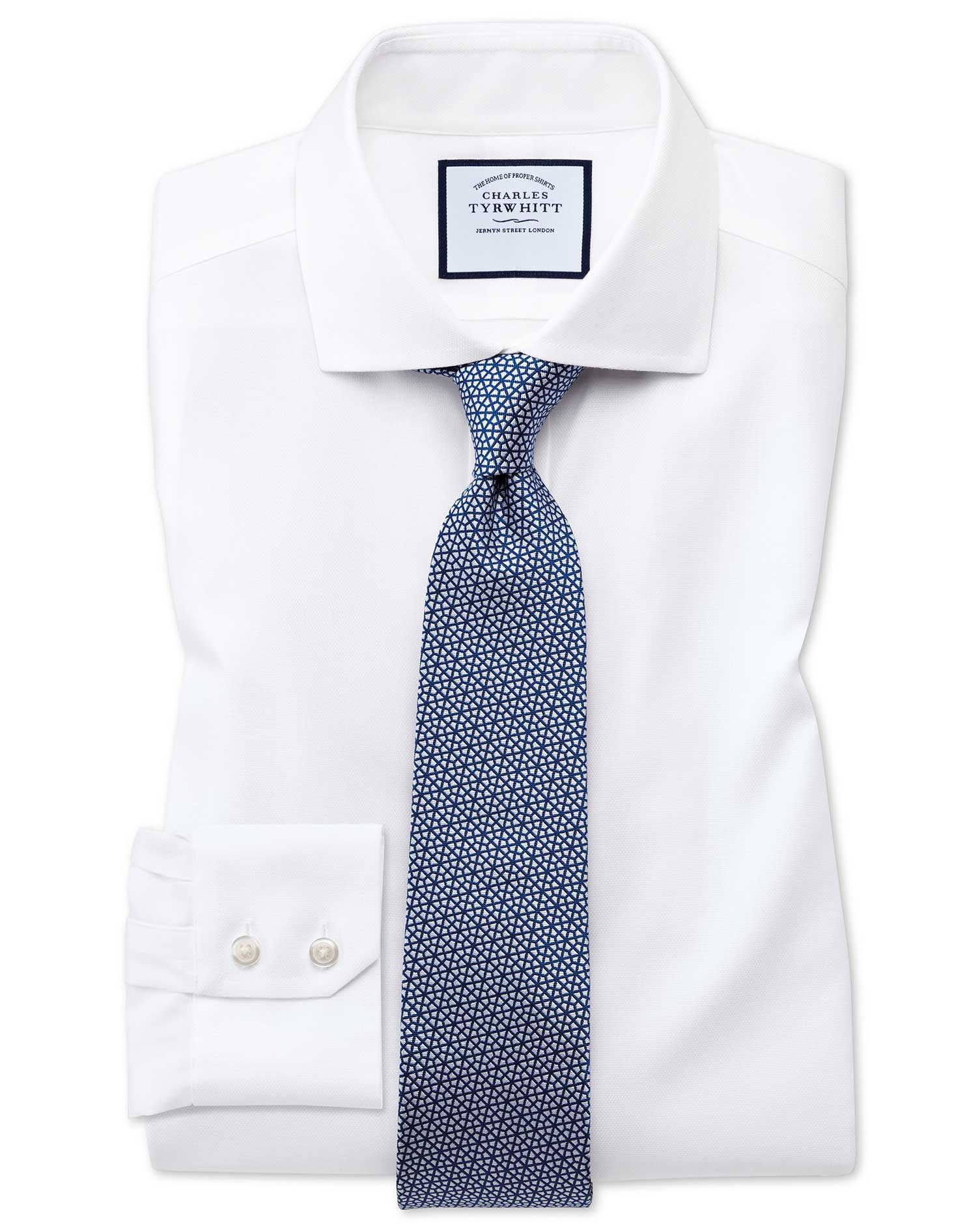 Extra Slim Fit Cutaway Non-Iron Cotton Stretch Oxford White Formal Shirt Single Cuff Size 17.5/35 by