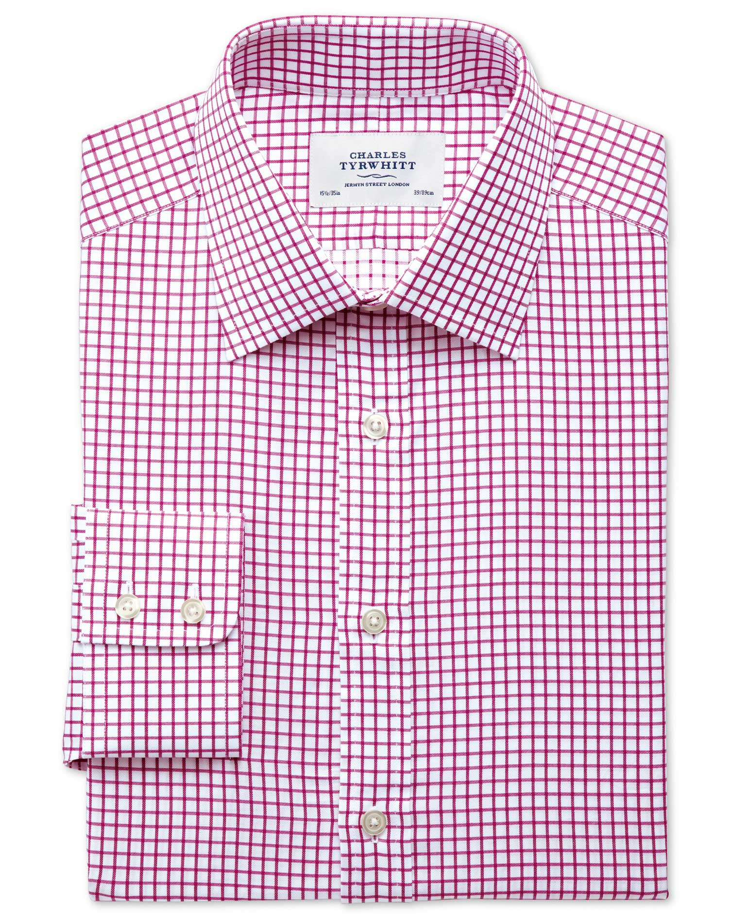 Extra Slim Fit Twill Grid Check Fuchsia Cotton Formal Shirt Single Cuff Size 15.5/33 by Charles Tyrw