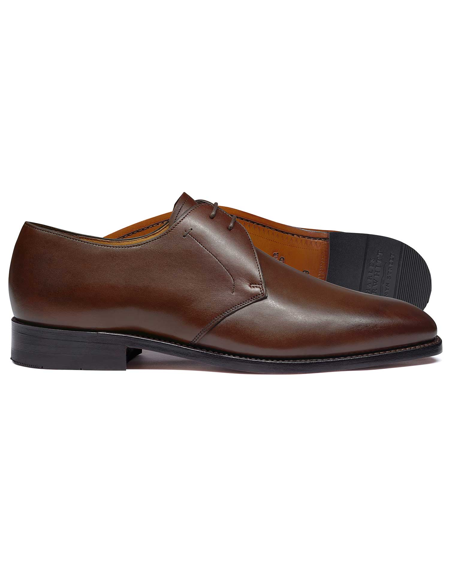Brown Goodyear Welted 2 Eyelet Derby Shoes Size 8.5 R by Charles Tyrwhitt