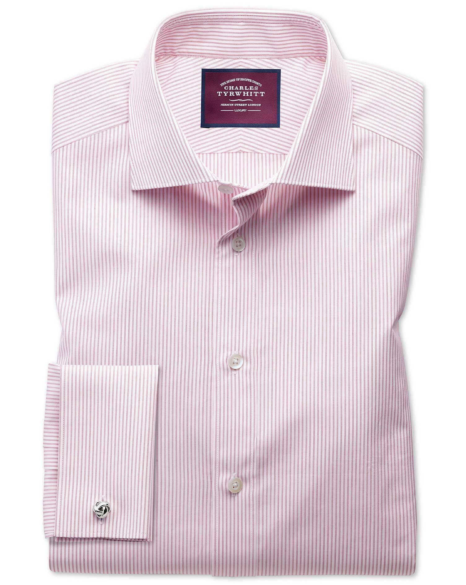 Slim Fit Semi-Cutaway Luxury Poplin Red and White Egyptian Cotton Formal Shirt Single Cuff Size 15/3
