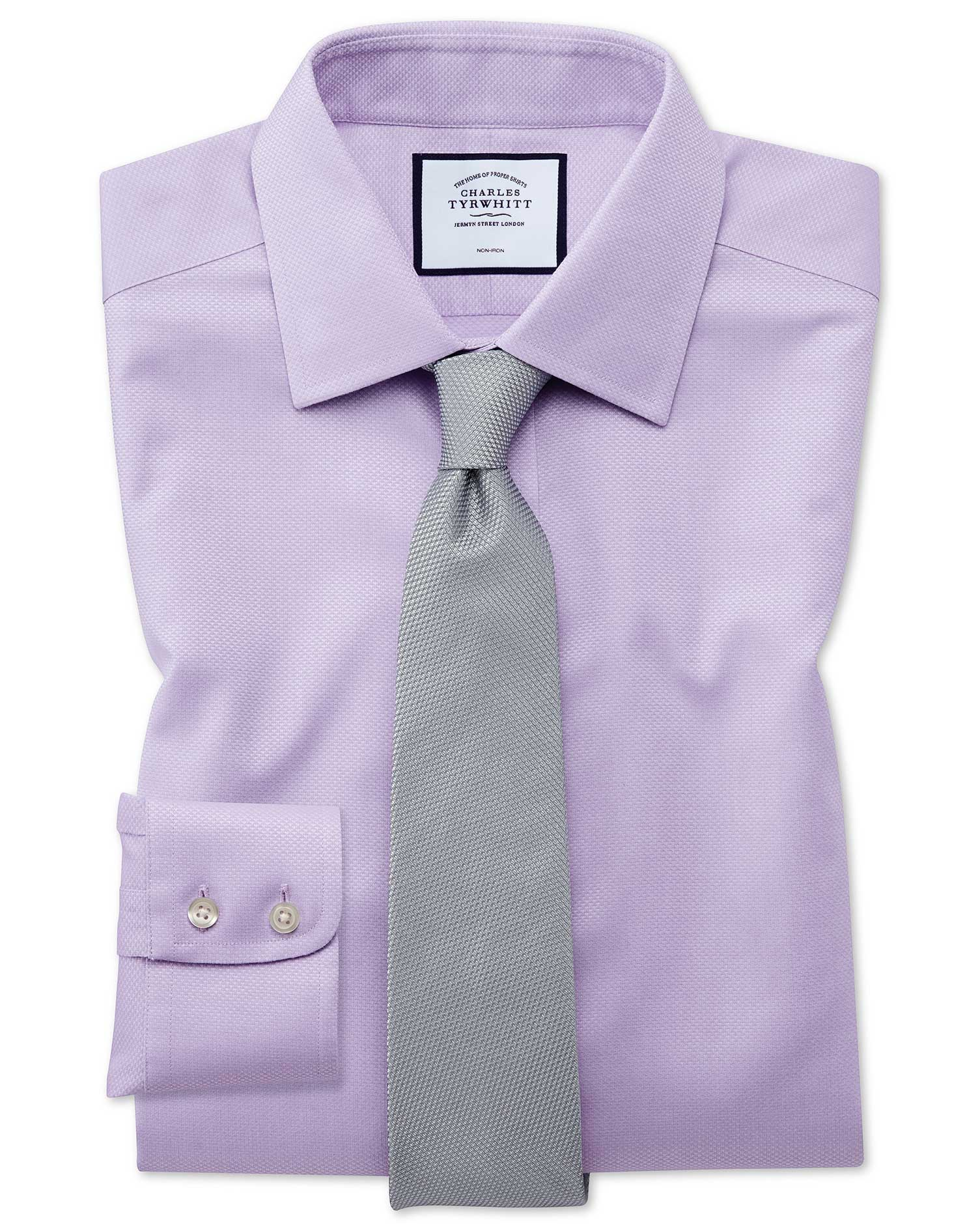 Slim Fit Non-Iron Lilac Triangle Weave Cotton Formal Shirt Double Cuff Size 17/37 by Charles Tyrwhit