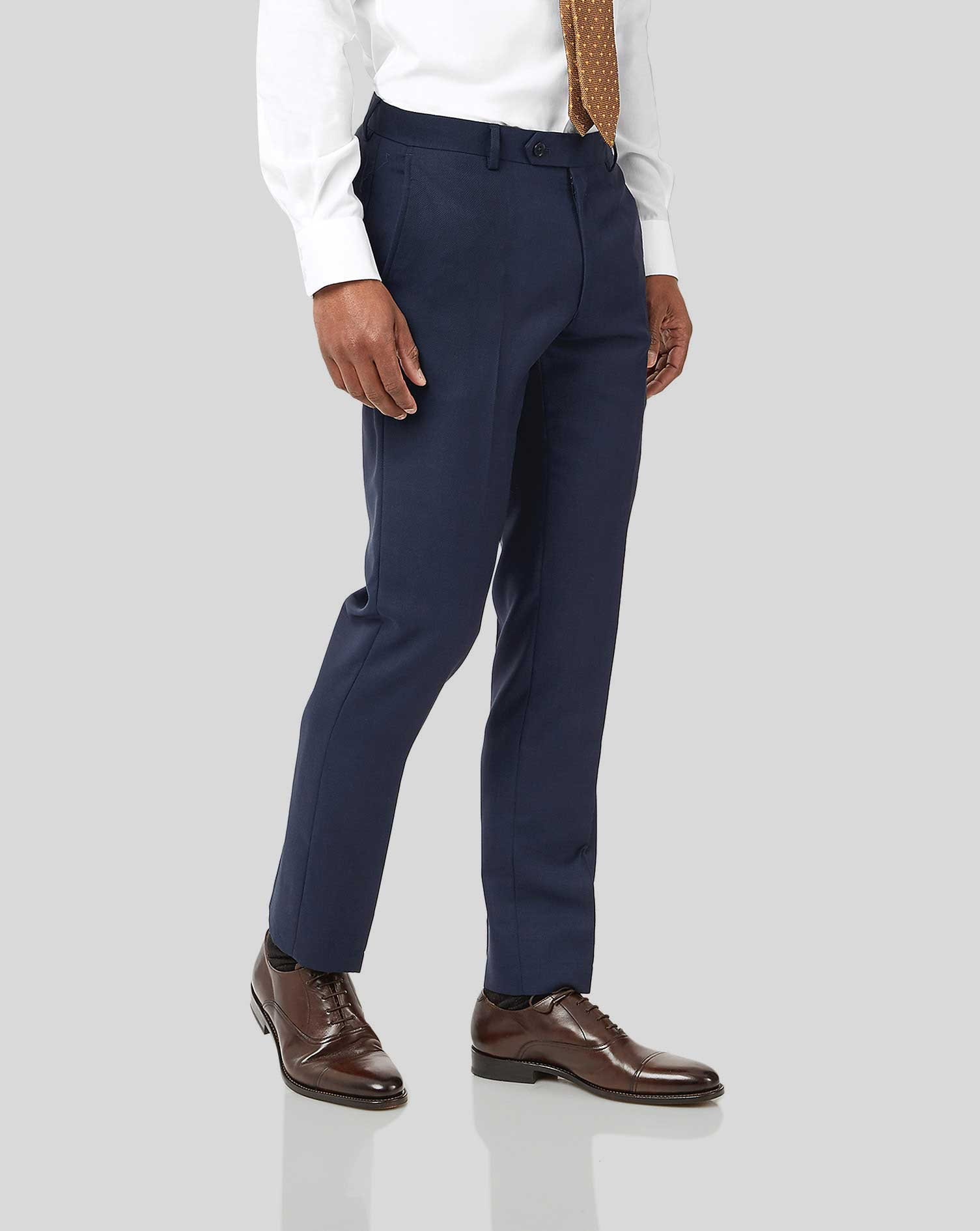 Ink blue slim fit birdseye travel suit pants
