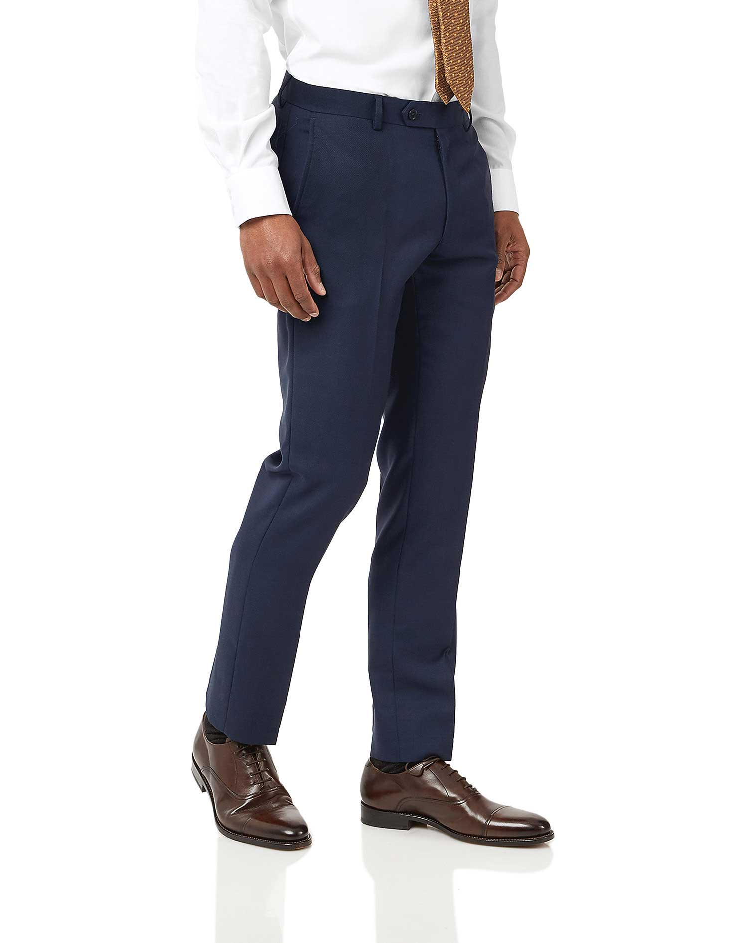 Ink Blue Slim Fit Birdseye Travel Suit Trousers Size W34 L38 by Charles Tyrwhitt