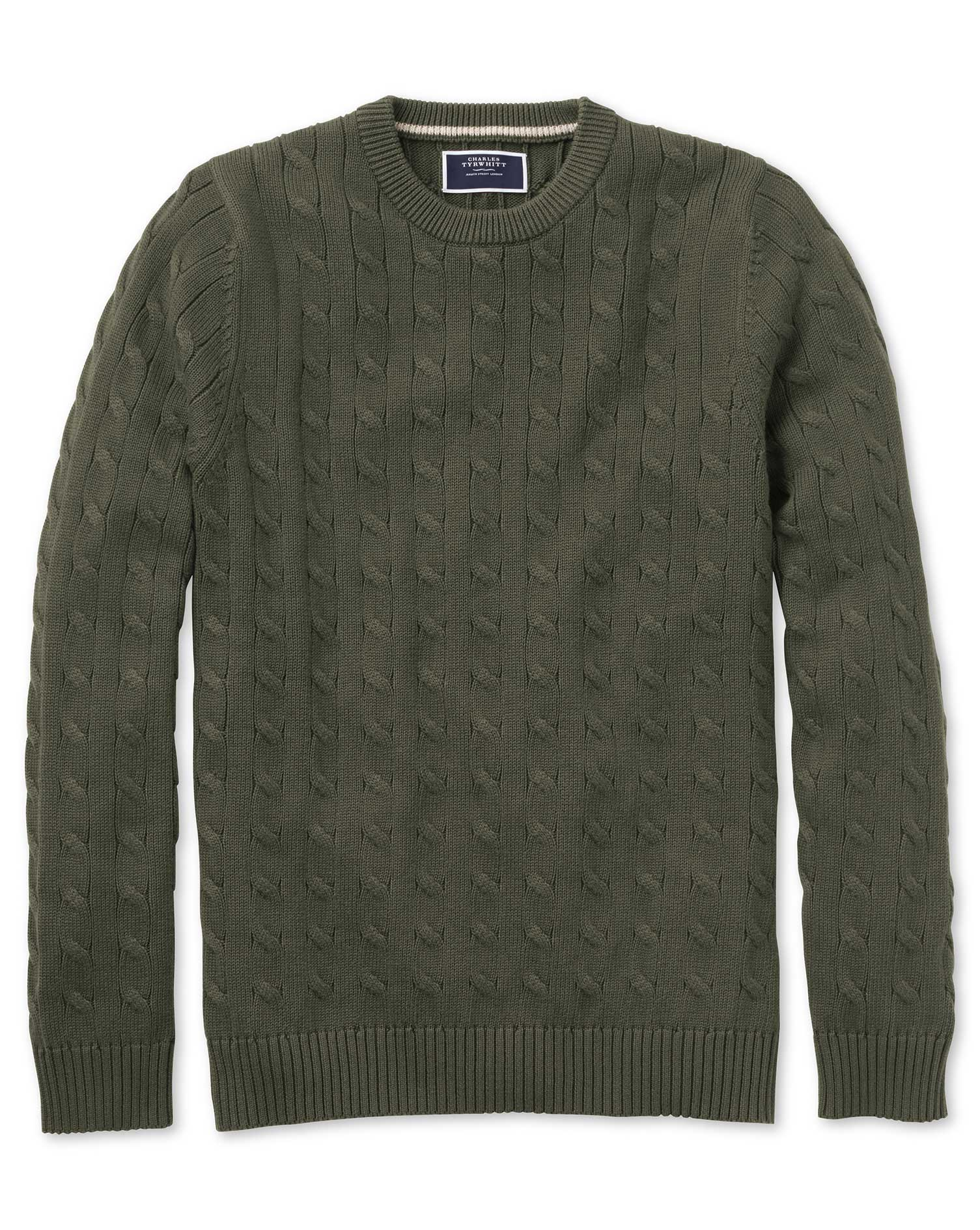 Olive Pima Cotton Cable Crew Neck Jumper Size XXL by Charles Tyrwhitt