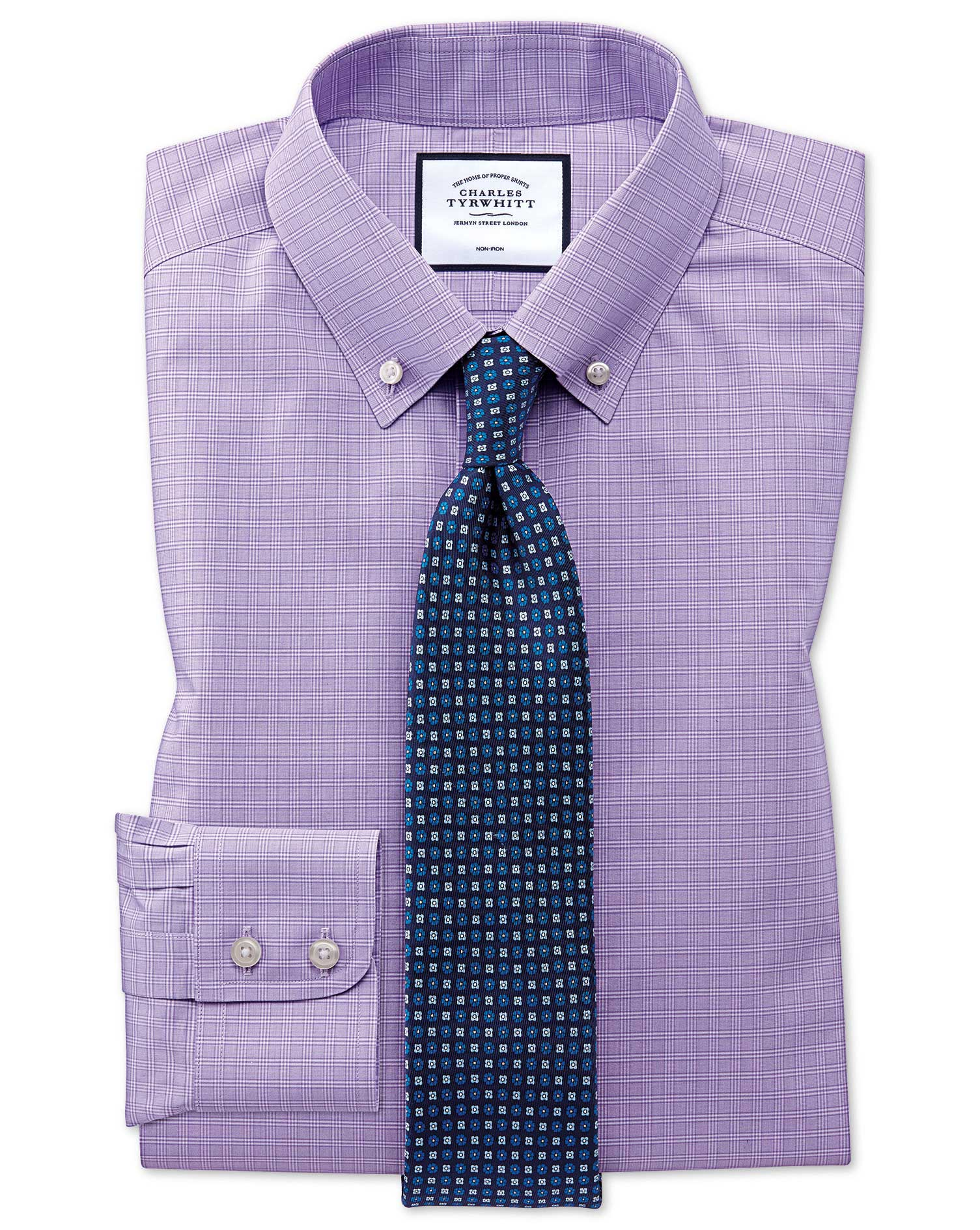 Extra Slim Fit Button-Down Non-Iron Lilac Prince Of Wales Check Cotton Formal Shirt Single Cuff Size