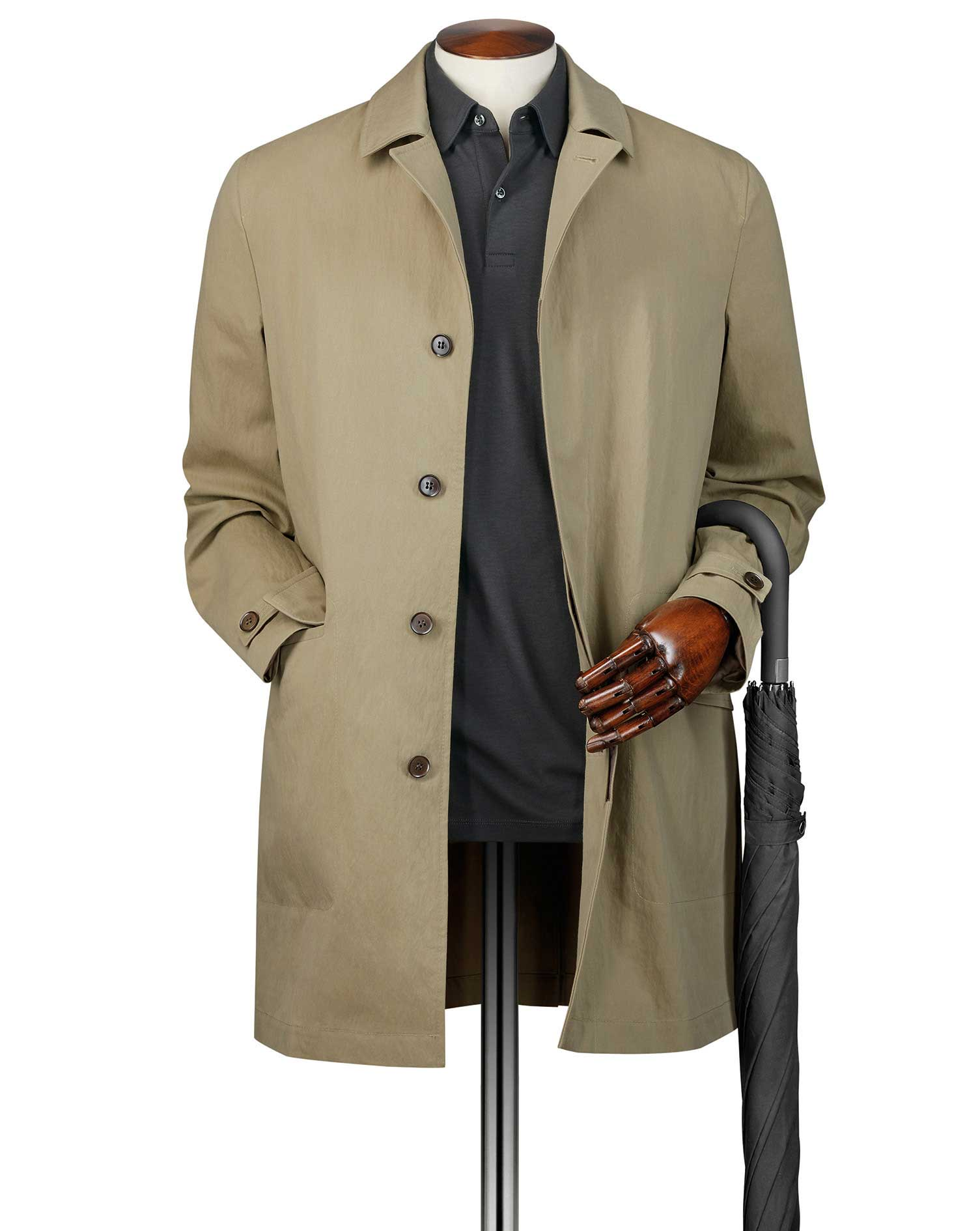 Stone Italian Cotton RainCotton coat Size 42 Regular by Charles Tyrwhitt