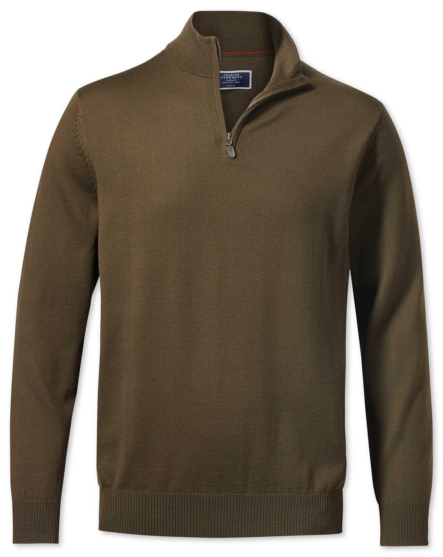Olive Zip Neck Merino Wool Jumper Size XS by Charles Tyrwhitt