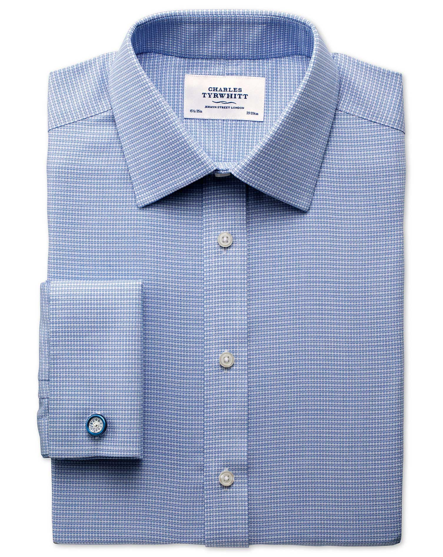 Classic Fit Non-Iron Square Textured Mid Blue Cotton Formal Shirt Double Cuff Size 15/35 by Charles