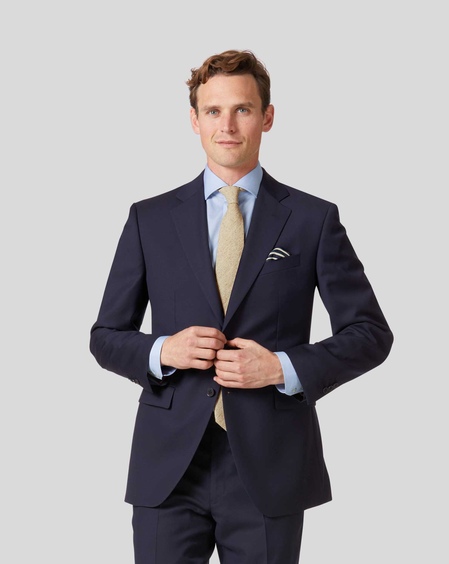 Navy classic fit twill business suit jacket