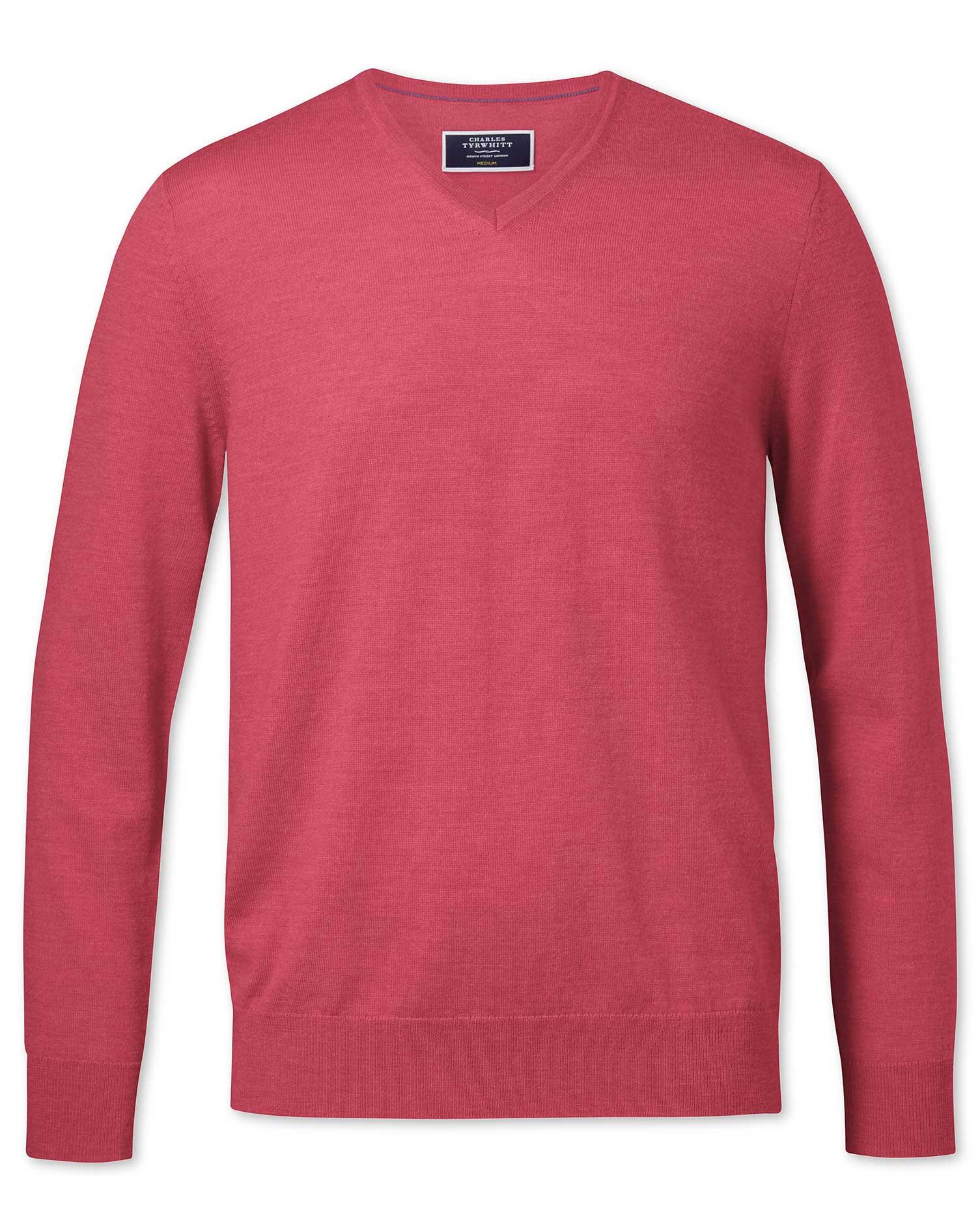 Coral Merino V-Neck Merino Wool Jumper Size XXXL by Charles Tyrwhitt