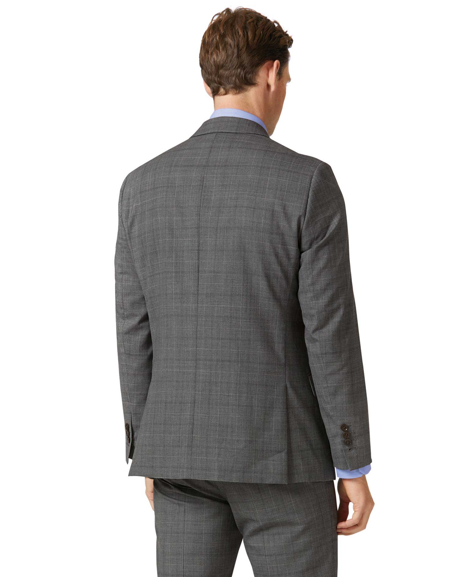Light grey check slim fit twist business suit jacket